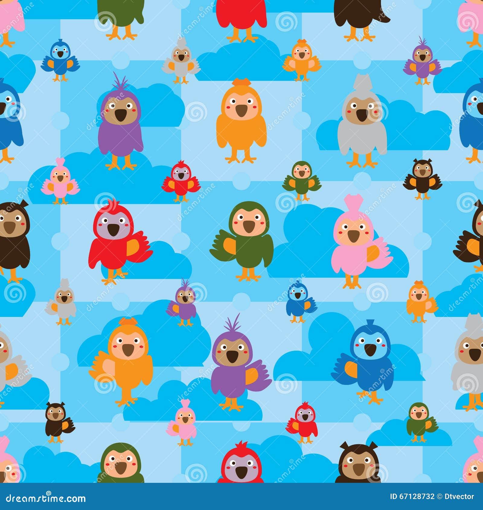 Cartoon Bird Color Symmetry Cloud Seamless Pattern Stock Photo ...