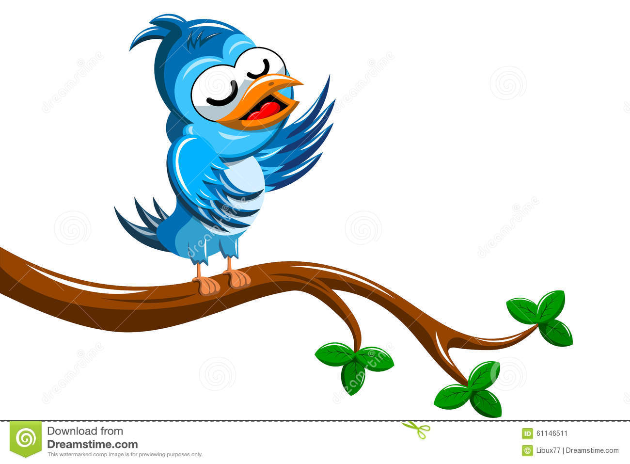 Cartoon Bird Singing On Tree Branch Stock Vector Image
