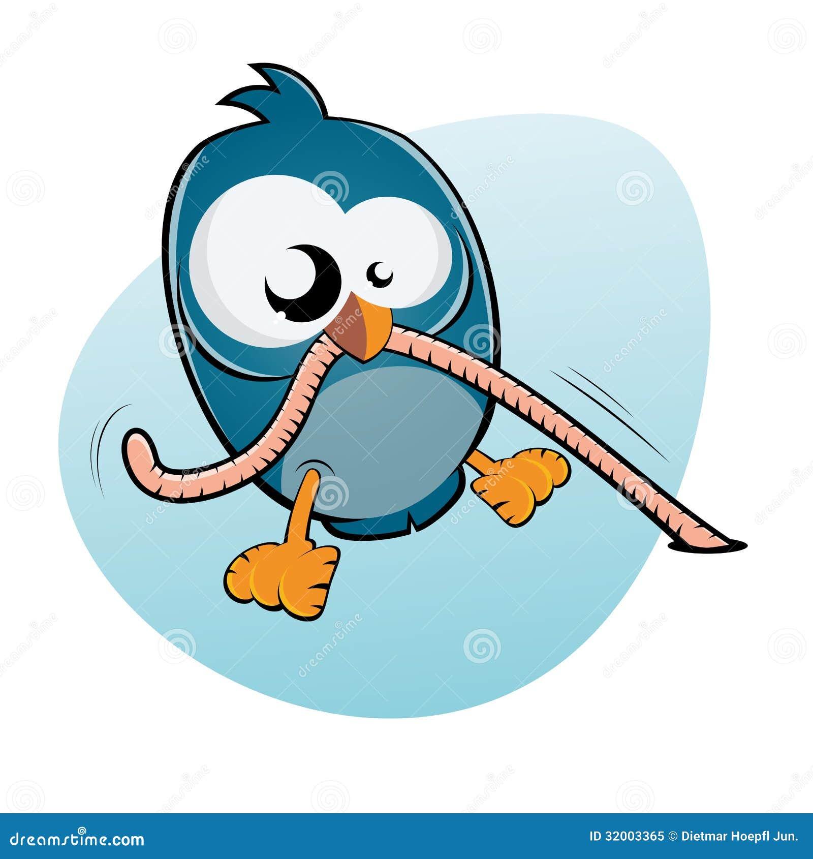Cartoon Bird And Worm Royalty Free Stock Photo