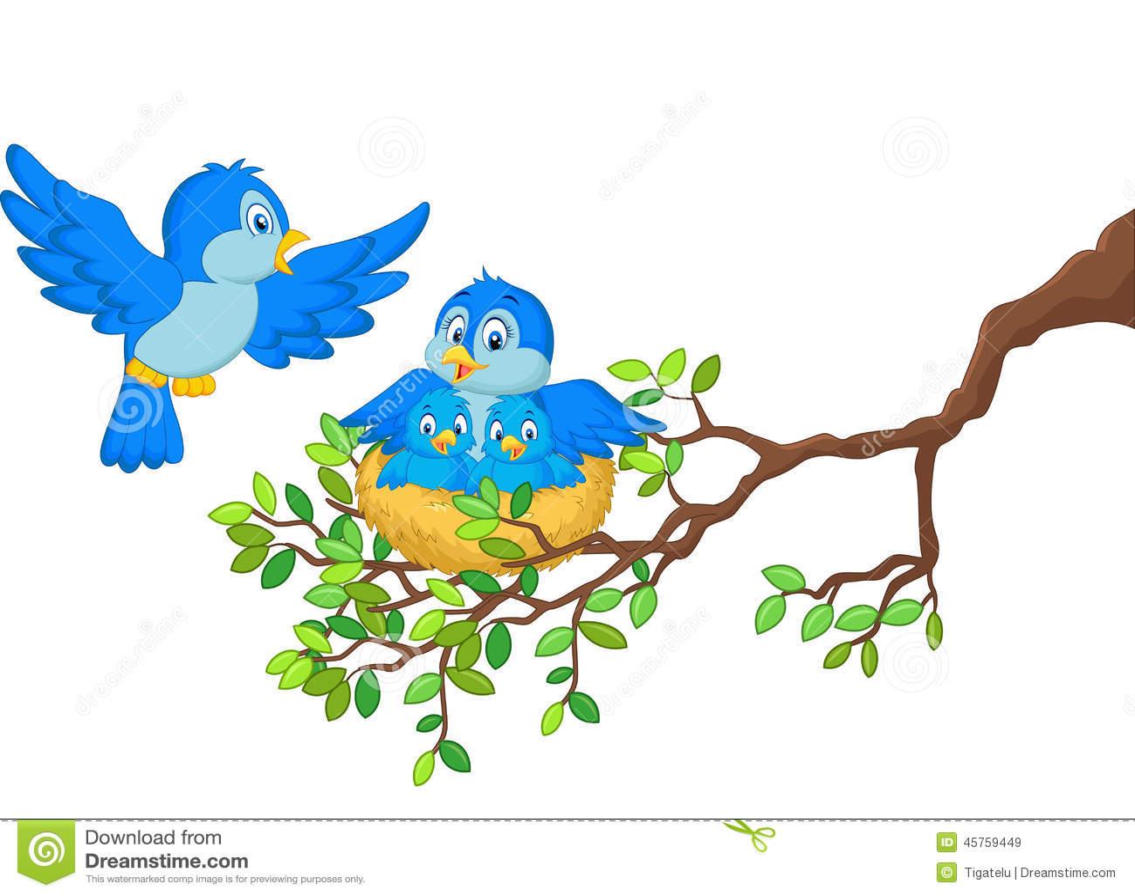 cartoon birds her two babies nest illustration 45759449