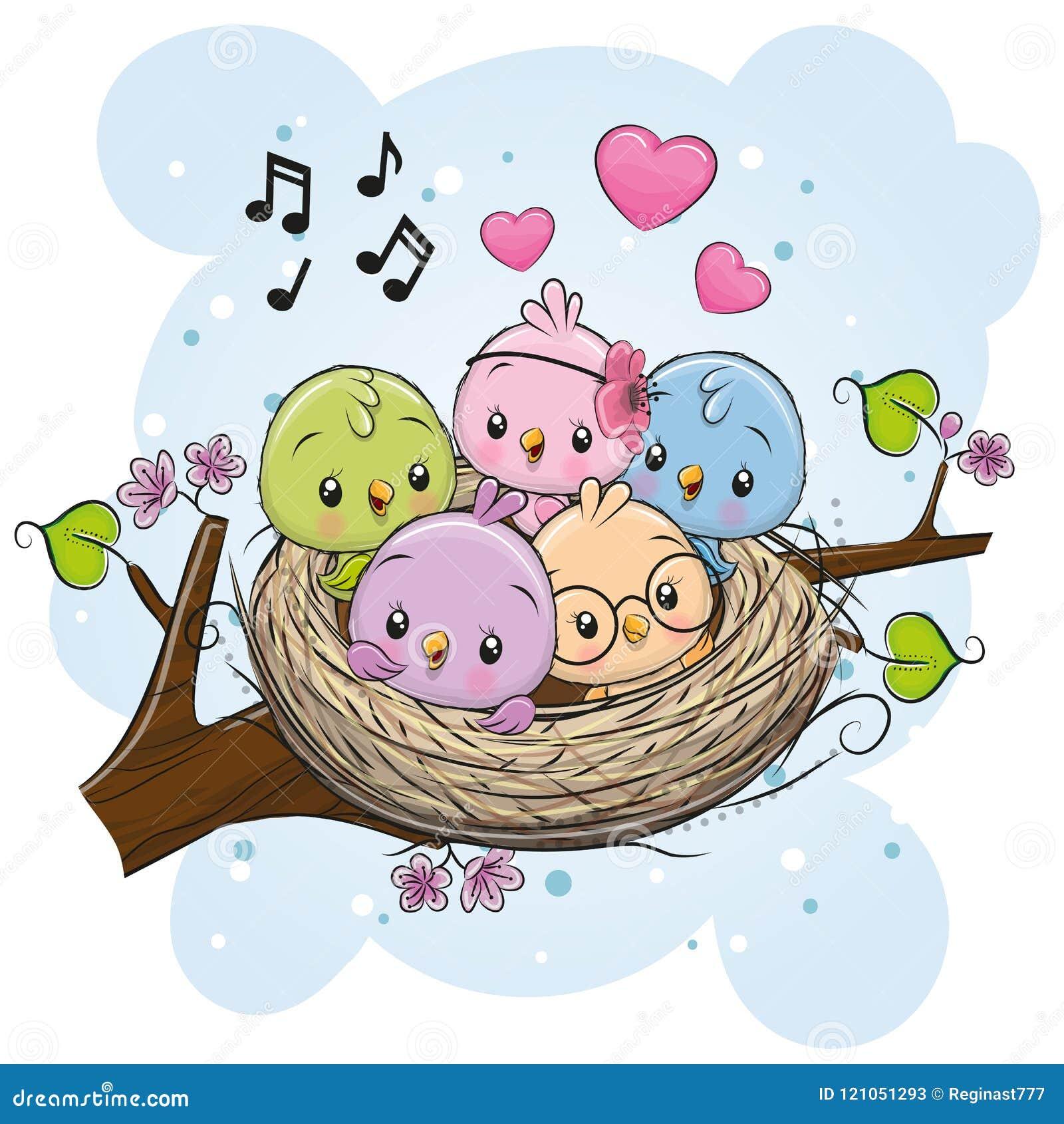 Cartoon Birds In A Nest On A Branch Stock Vector ...