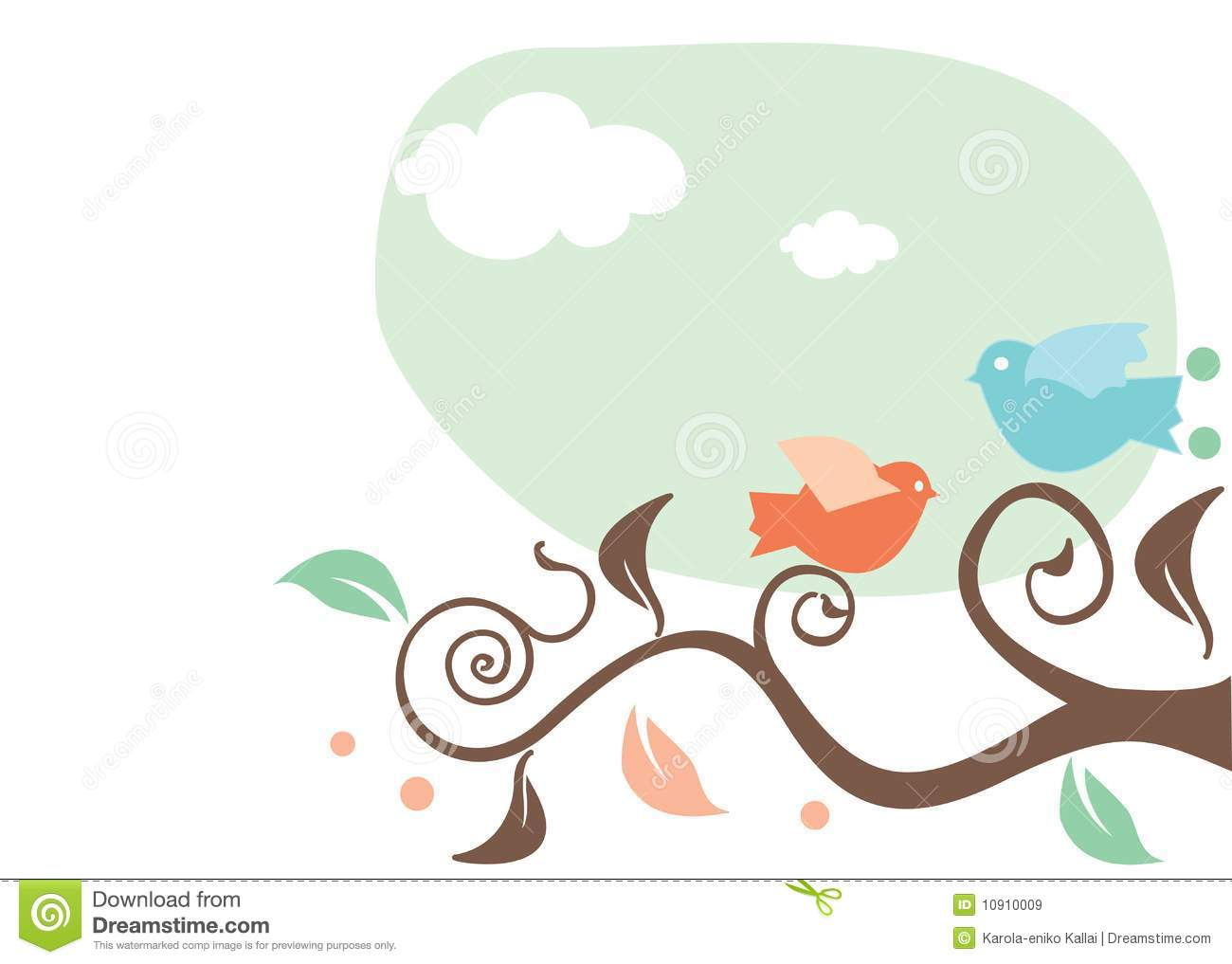 Royalty free stock images cartoon birds on a tree image 10910009