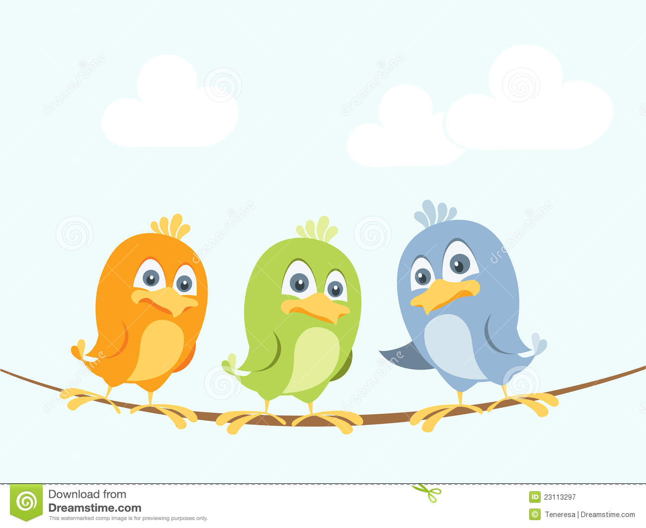 Vector illustration of three colorful birds chatting on a wire. Easy ...