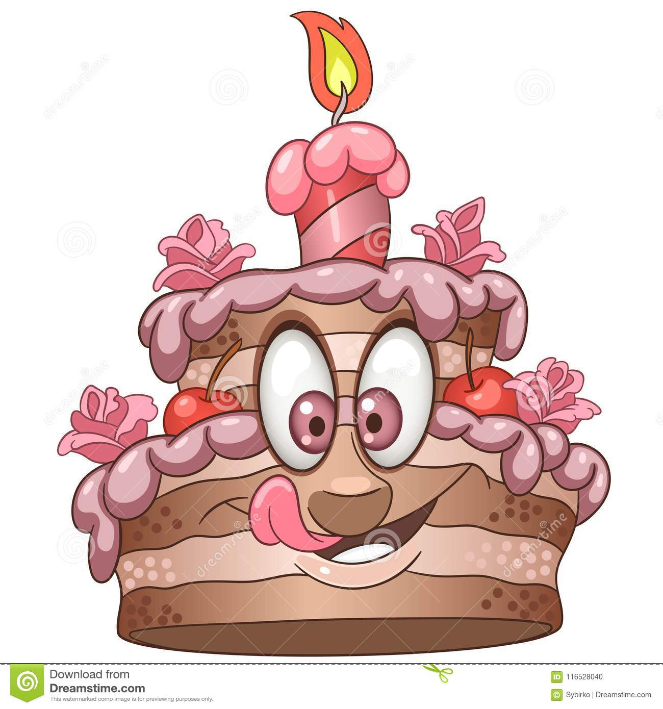 Birthday Cake With A Candle Happy Pastry Food Concept Funny Emoticon Smiley Idea Emoji Cartoon Design For Kids Coloring Book Colouring Page