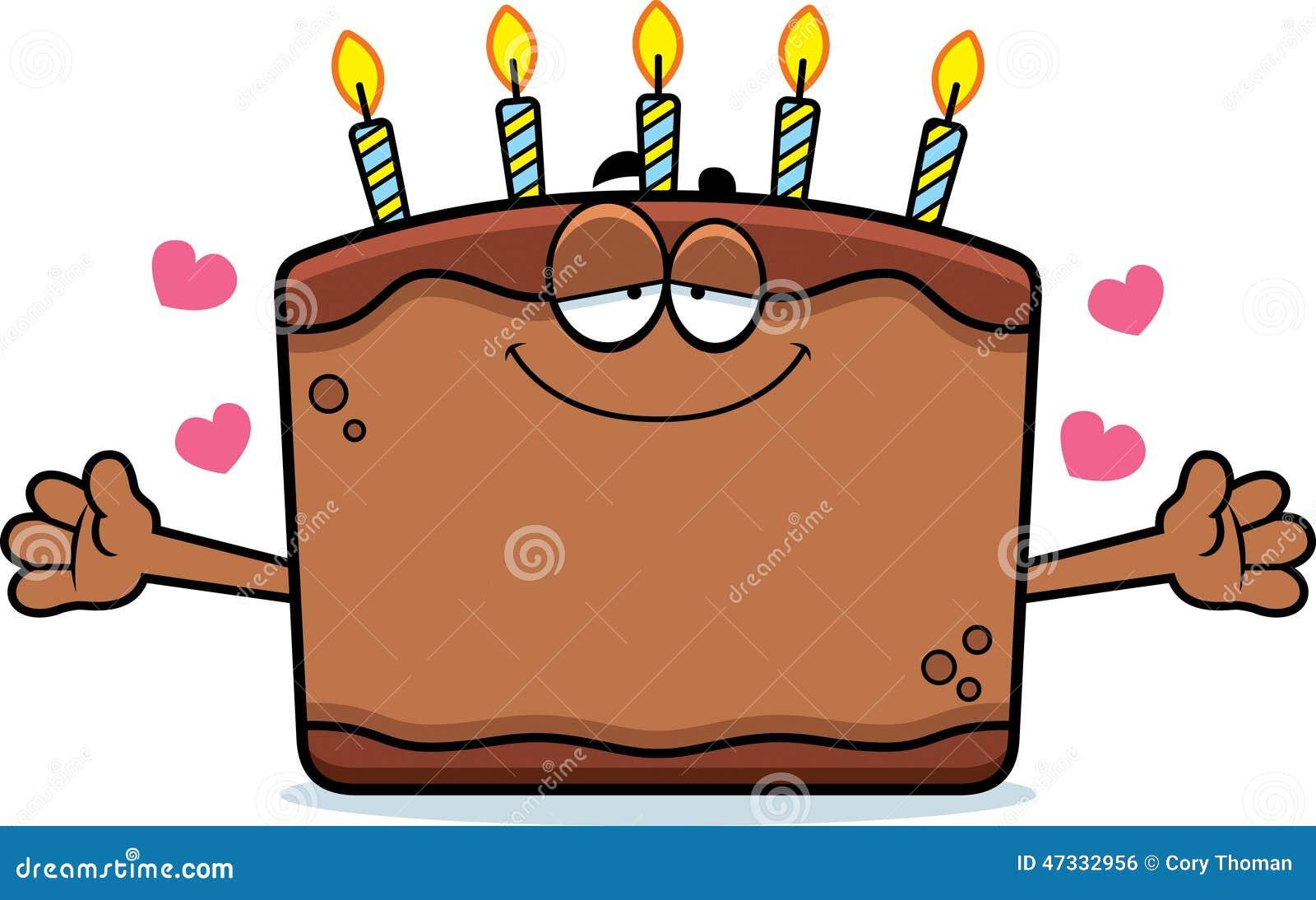 Cartoon Birthday Cake Hug Stock Vector Illustration Of Birthday