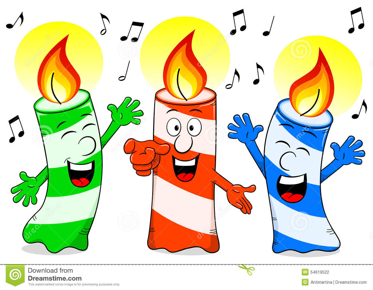 Cartoon Birthday Candles Singing A Song