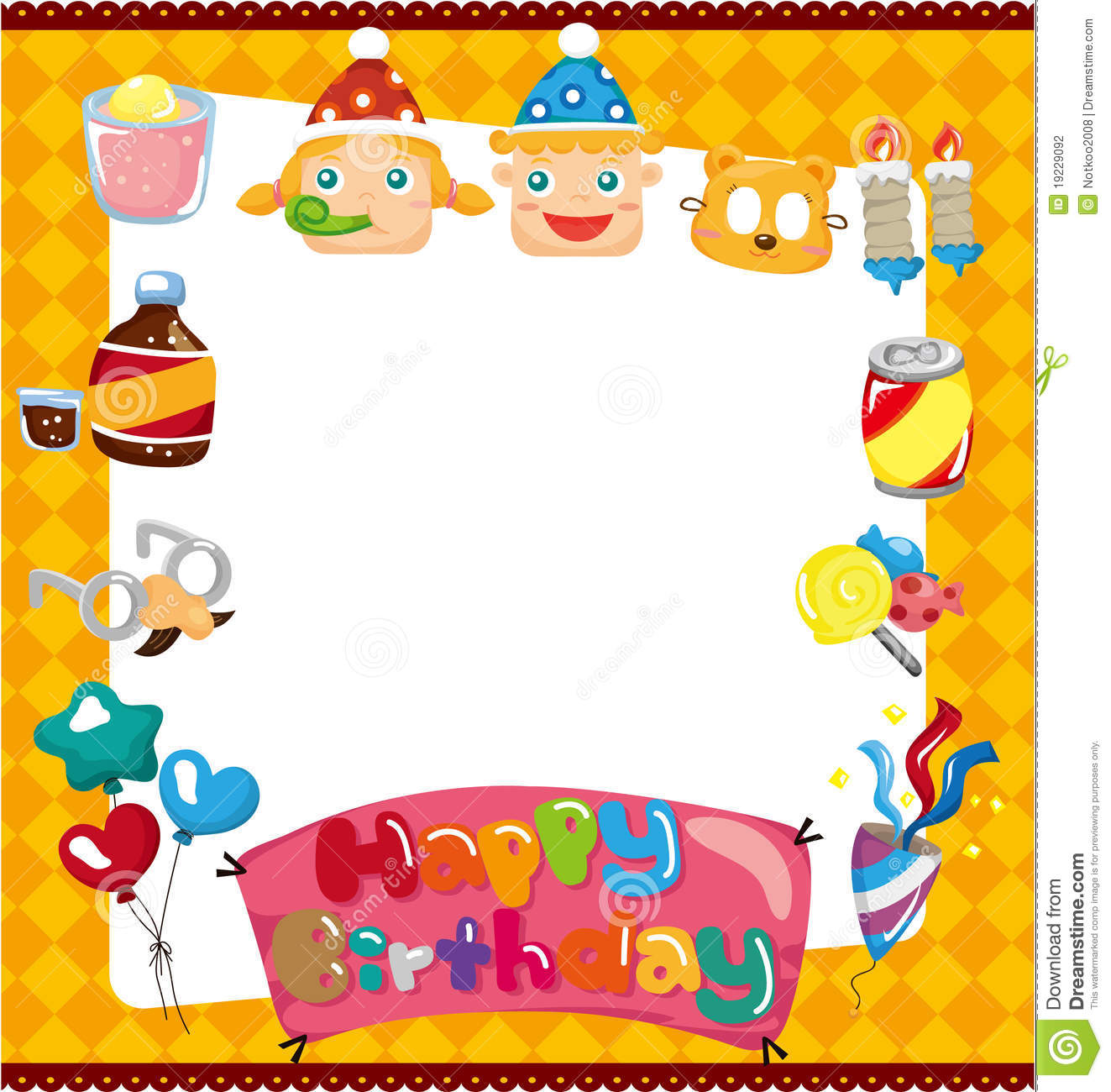 Cartoon Birthday Card Stock Vector Illustration Of Balloon