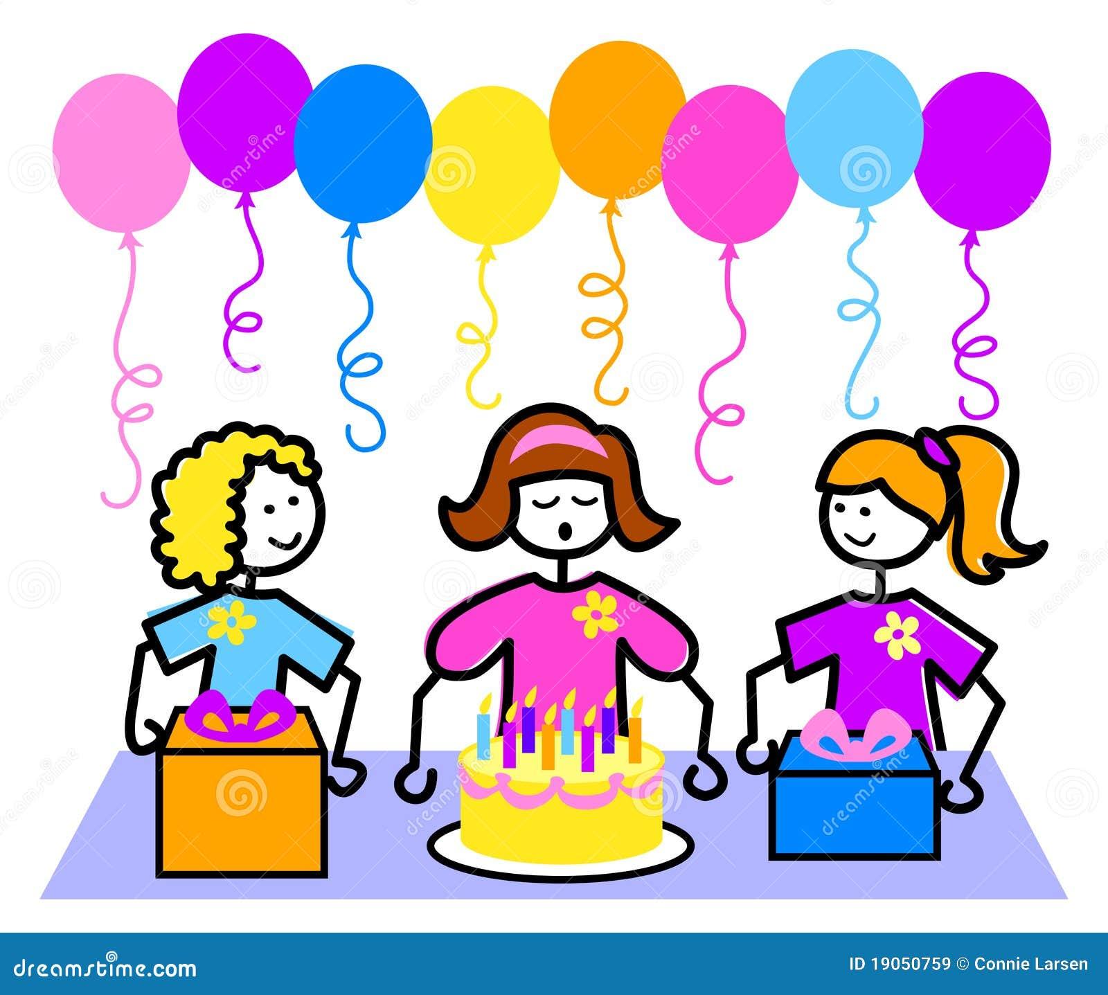 Cartoon Birthday Party Girl Eps Stock Vector Illustration Of Friends Cute 19050759
