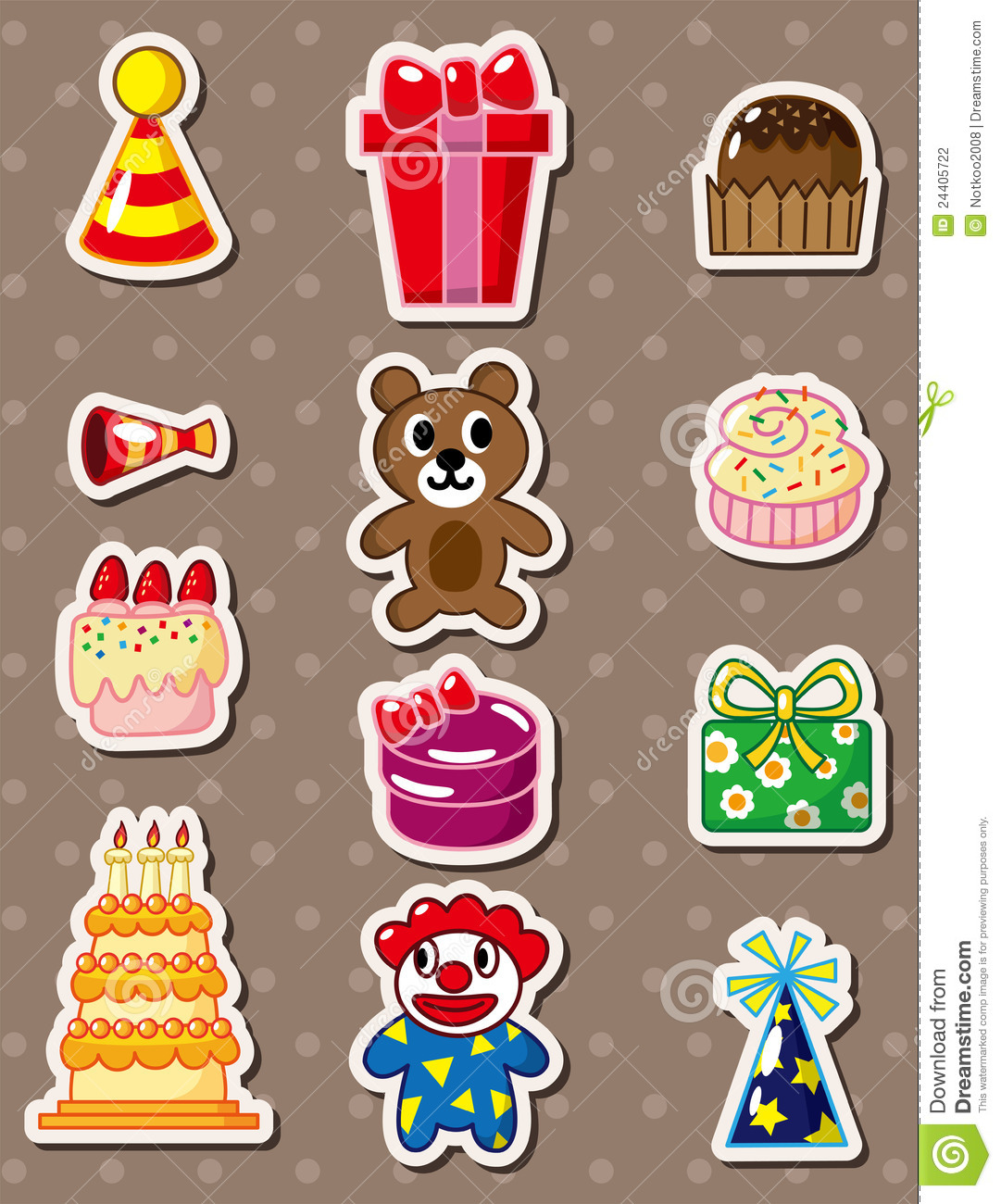 Cartoon birthday stickers