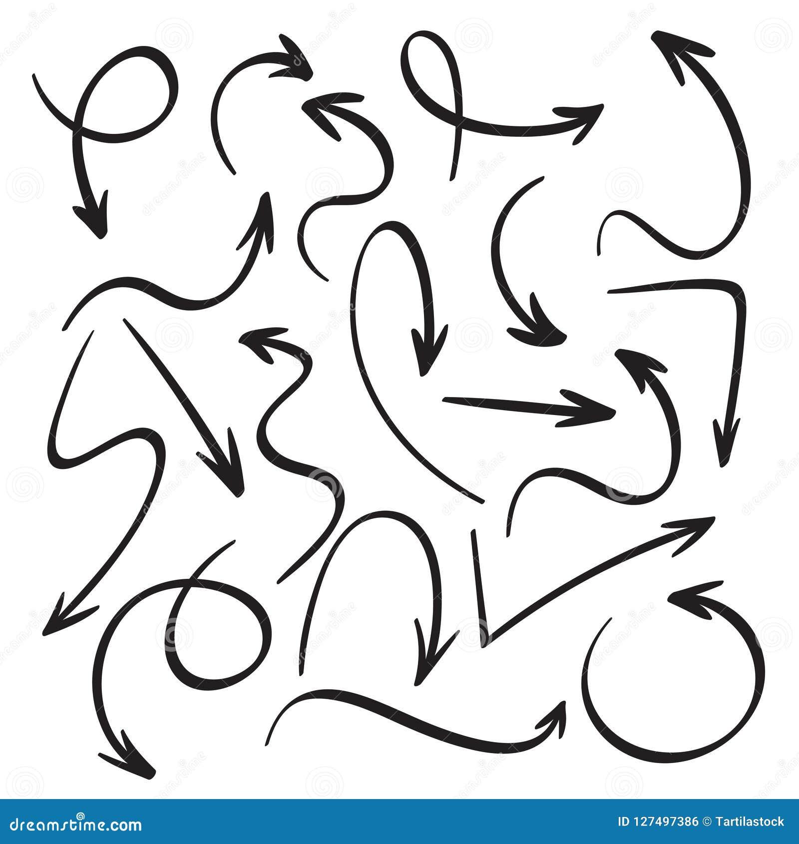 Cartoon black arrows. Hand drawn arrow sketch. Swirl, return back and direction pointer vector icons set