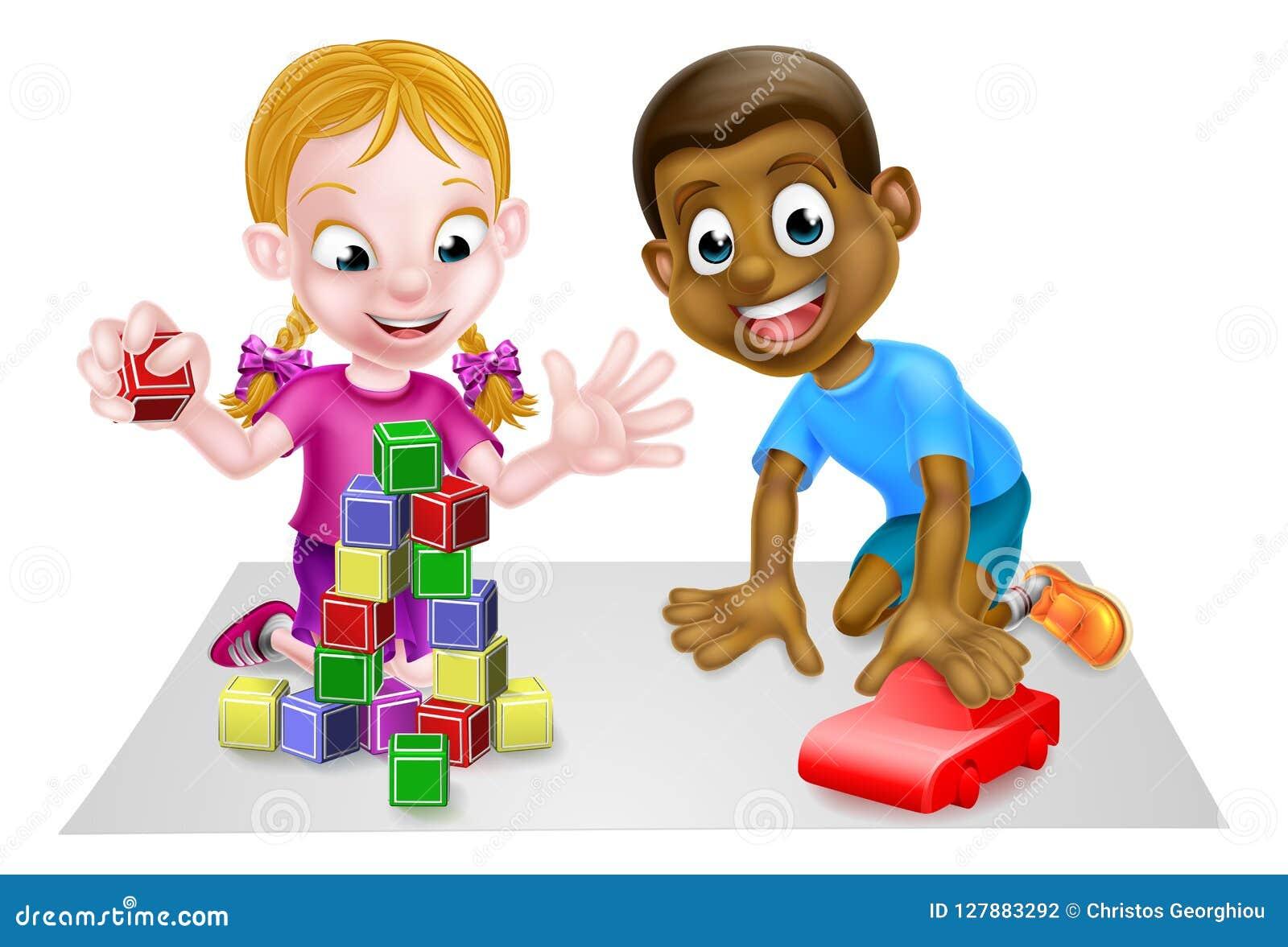 Weiße Frau schwarzer Spielzeugjunge mit Mädchen