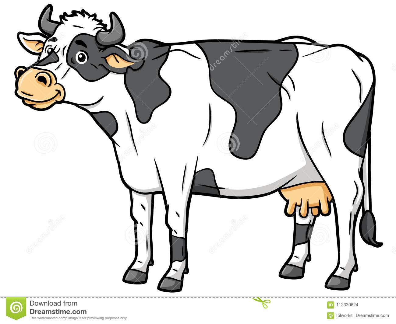 Cartoon Black And White Cow Stock Vector Illustration of black