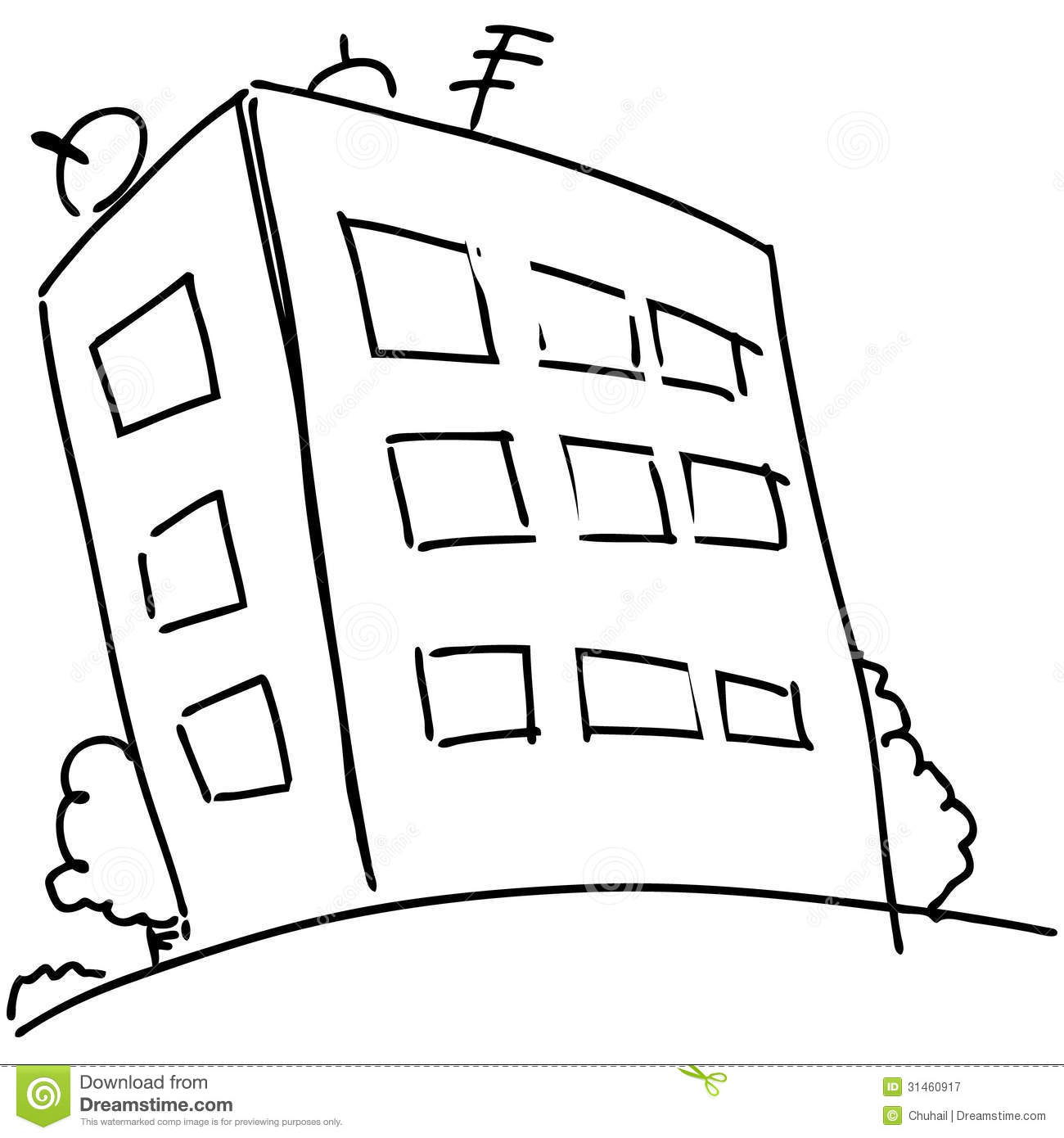 Cartoon Block Of Flats Stock Vector Illustration Of