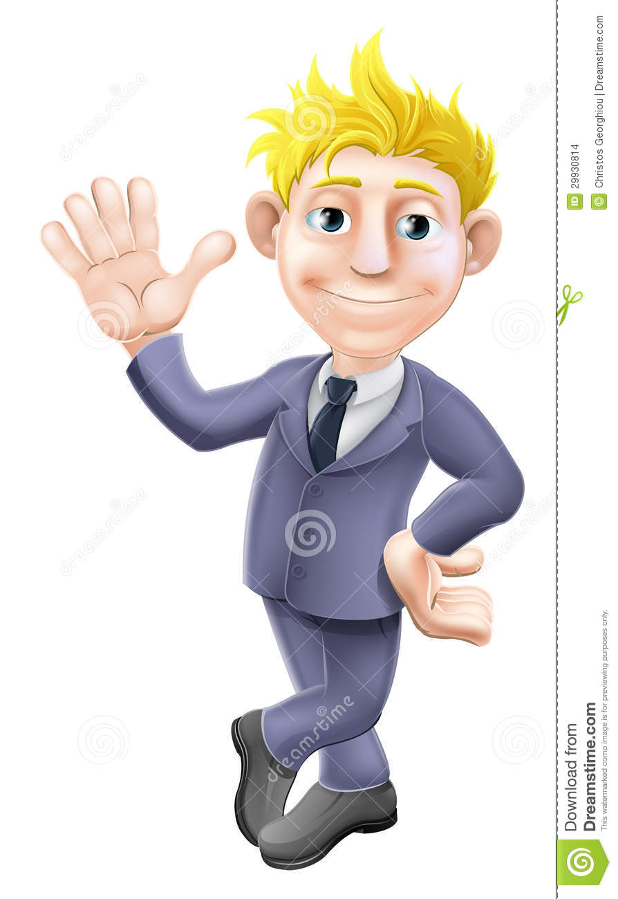 Man In Suit Waving Cartoon Stock Images - Image: 29930814