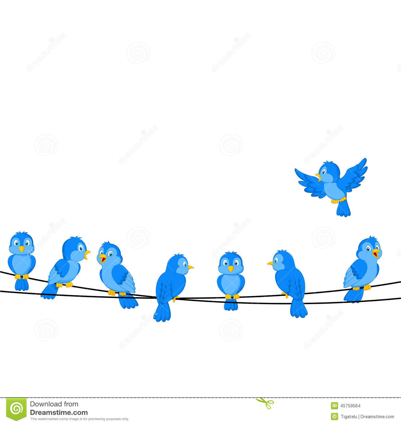 Cartoon Blue Bird On Wire Stock Vector - Image: 45759564