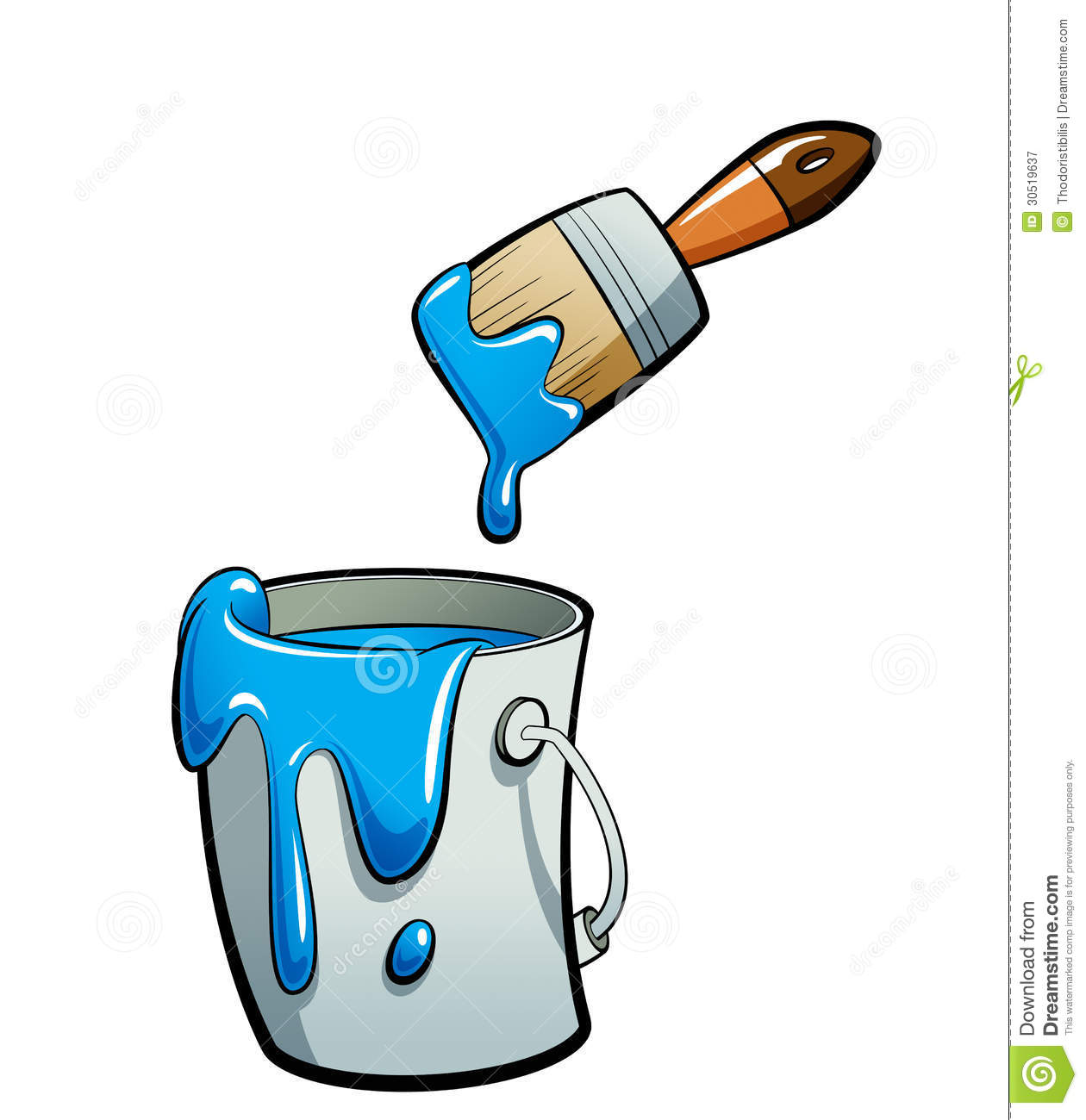 ... : Cartoon blue color paint in a paint bucket painting with paint b
