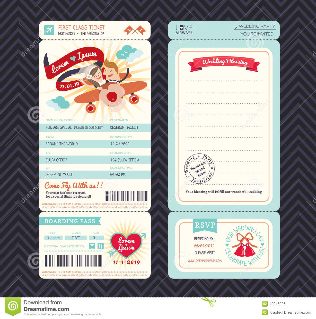 Cartoon Boarding Pass Ticket Wedding Invitation Template  Bus Pass Template
