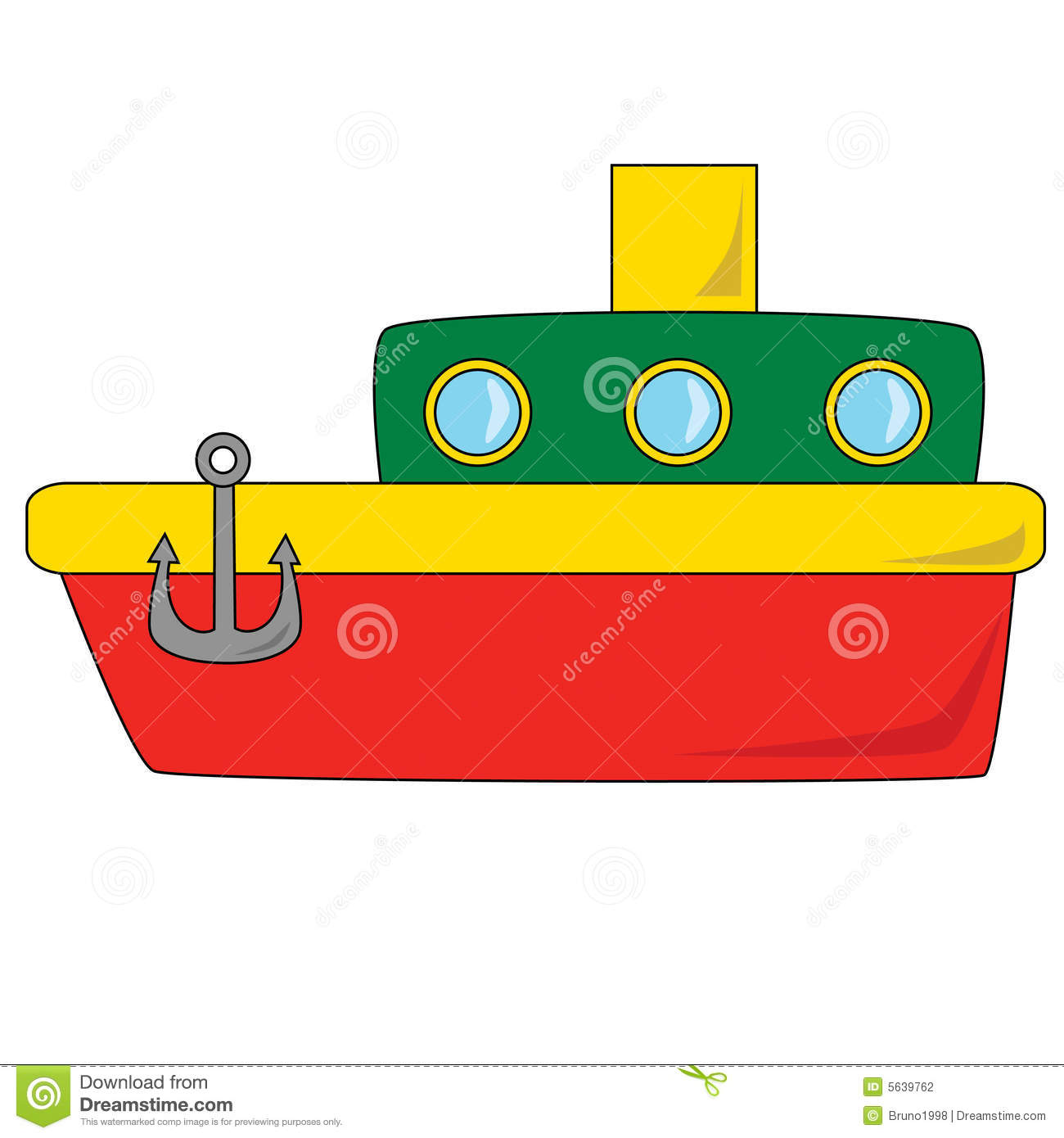 Vector illustration of a red and green cartoon boat