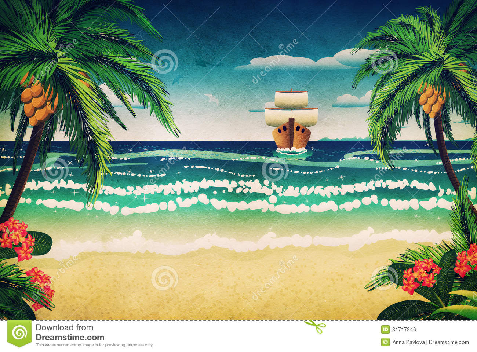 Cartoon boat and beach stock illustration. Image of tree - 31717246