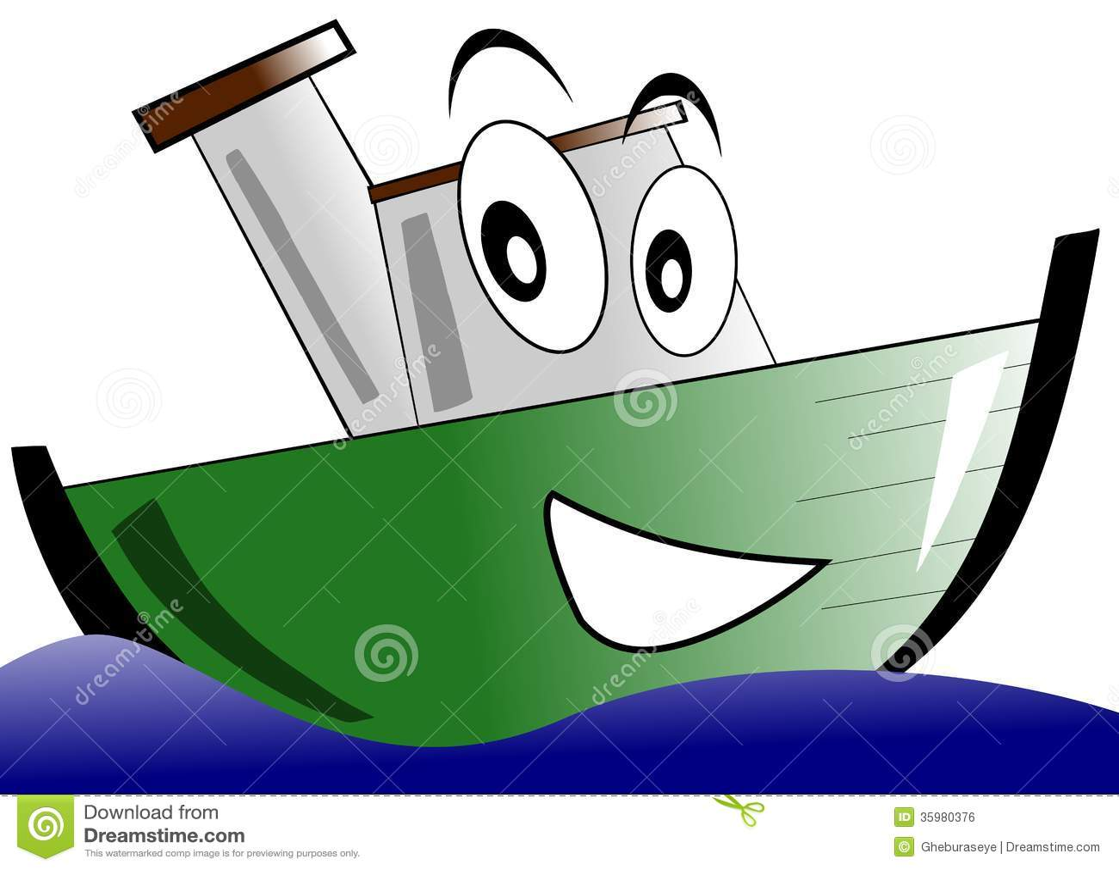 Smiling Isolated Cartoon Boat Royalty Free Stock Image - Image ...