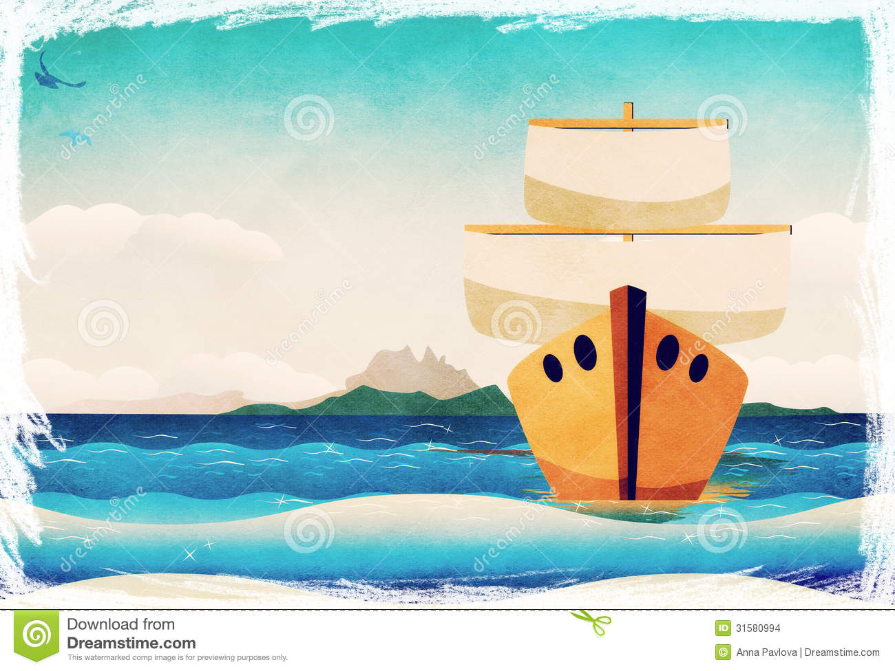 Cartoon Boat In The Sea Stock Images - Image: 31580994