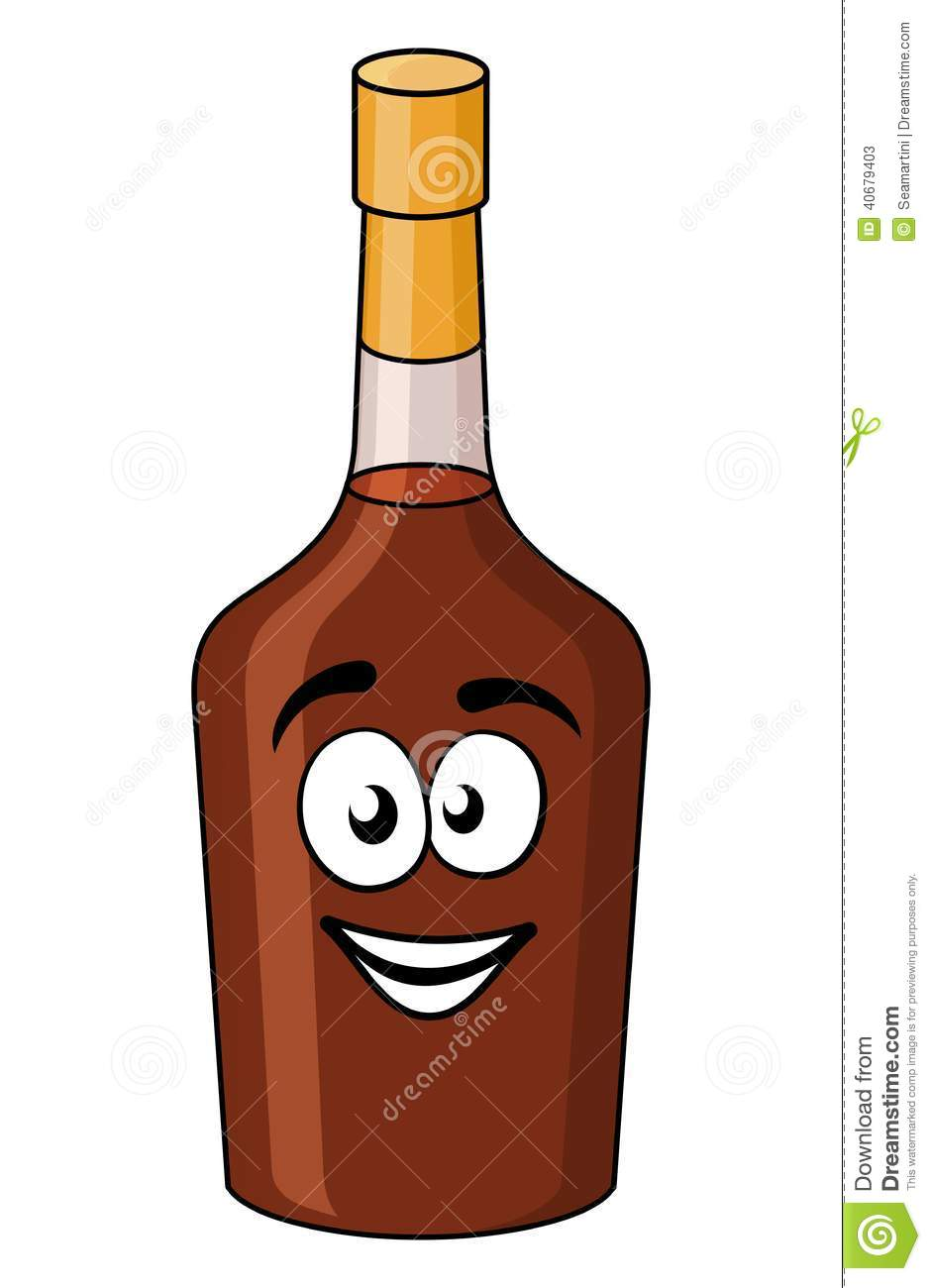 Cartoon Bottle Of Alcohol Or Liqueur Stock Vector Image