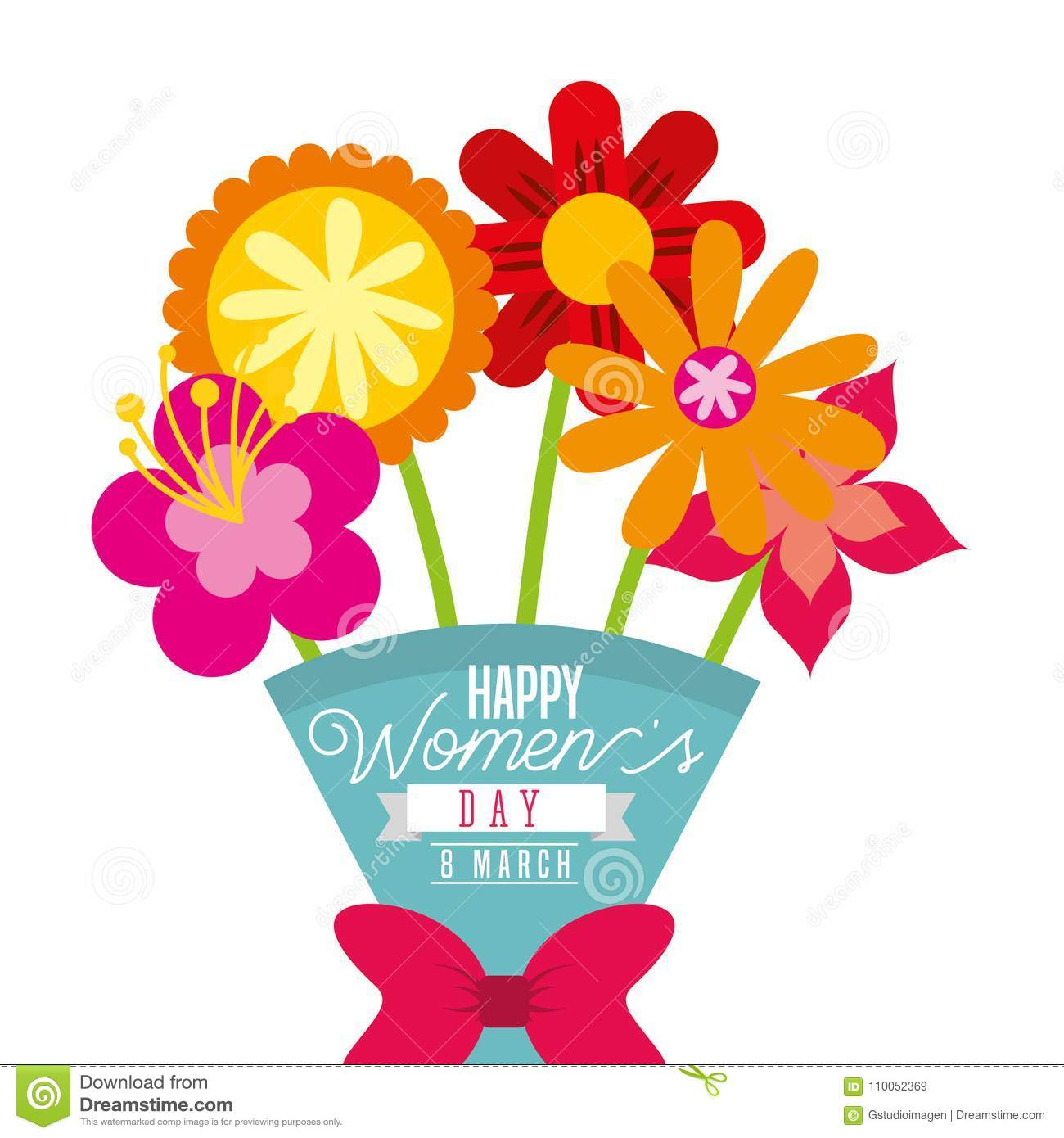 Cartoon Bouquet Exotic Flowers Womens Day Card Stock Vector
