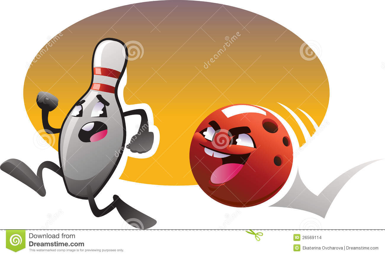 Cartoon Bowling Characters Run With Color Background Stock ...