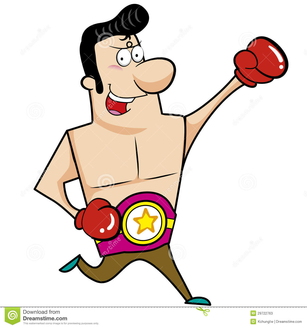 Cartoon boxer with boxing gloves vector illustration.