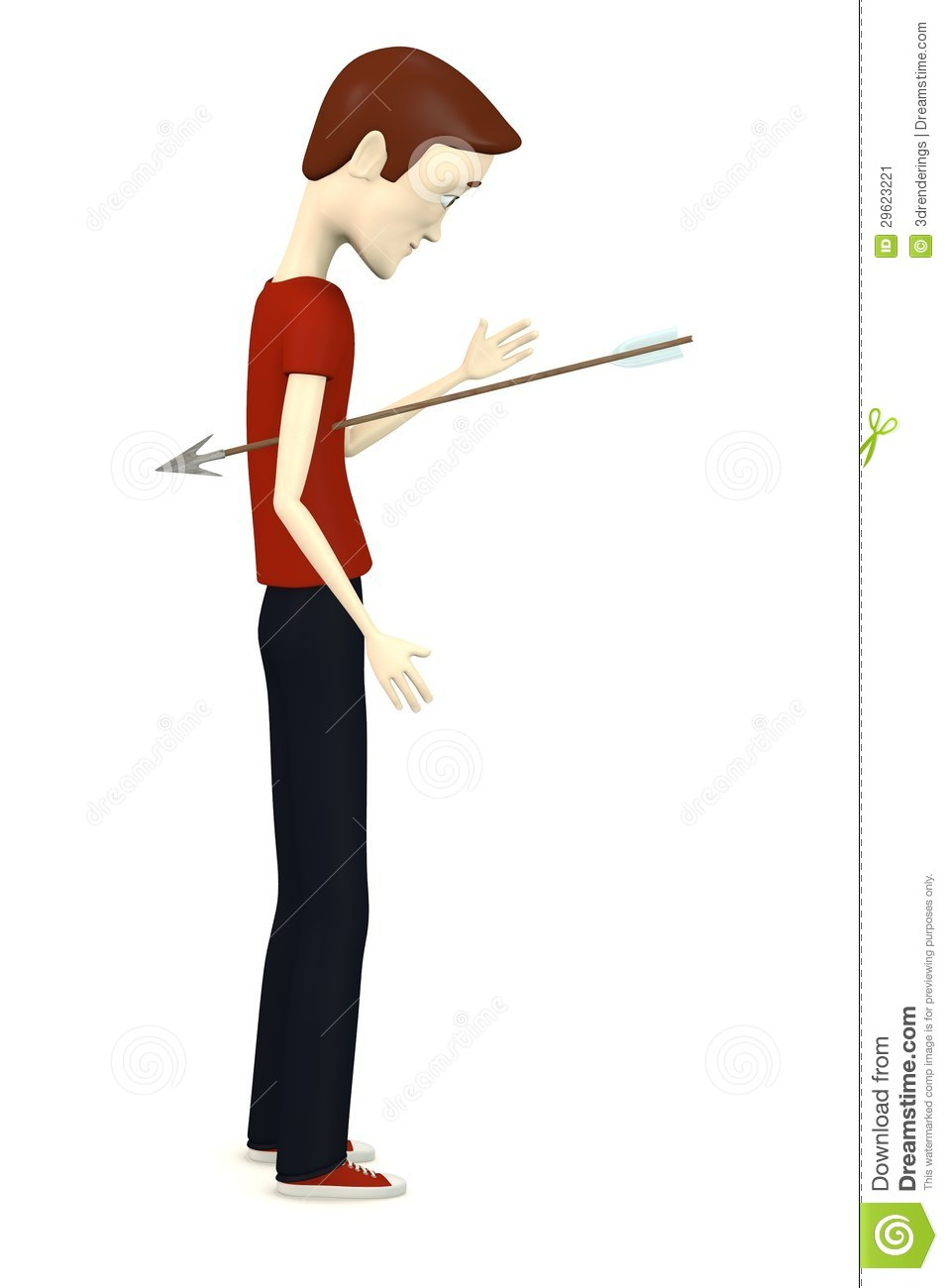 Cartoon Boy With Arrow In Body Stock Image - Image: 29623221
