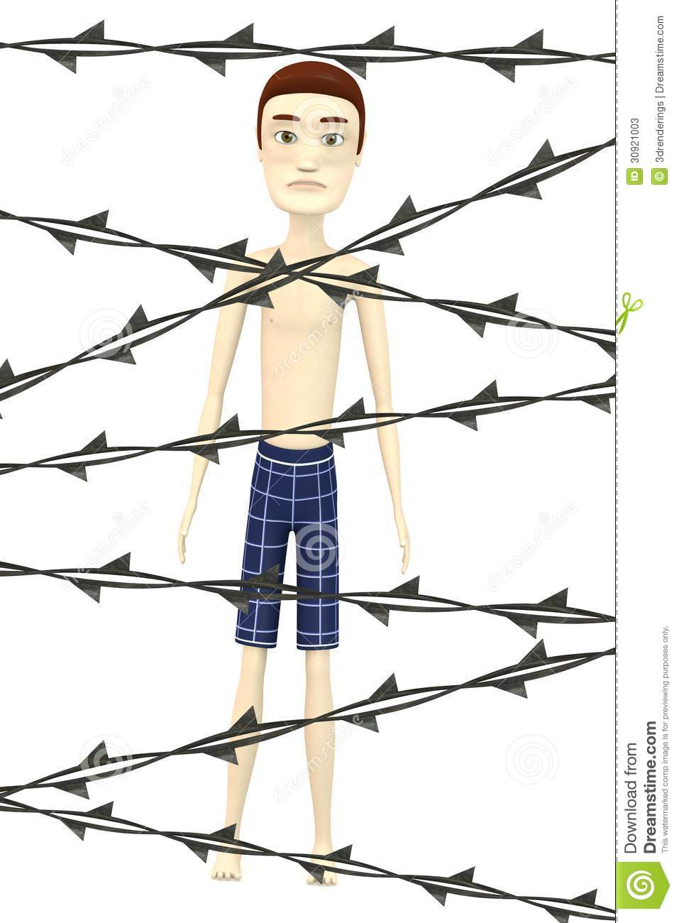 Cartoon boy with barbed wire stock photos image