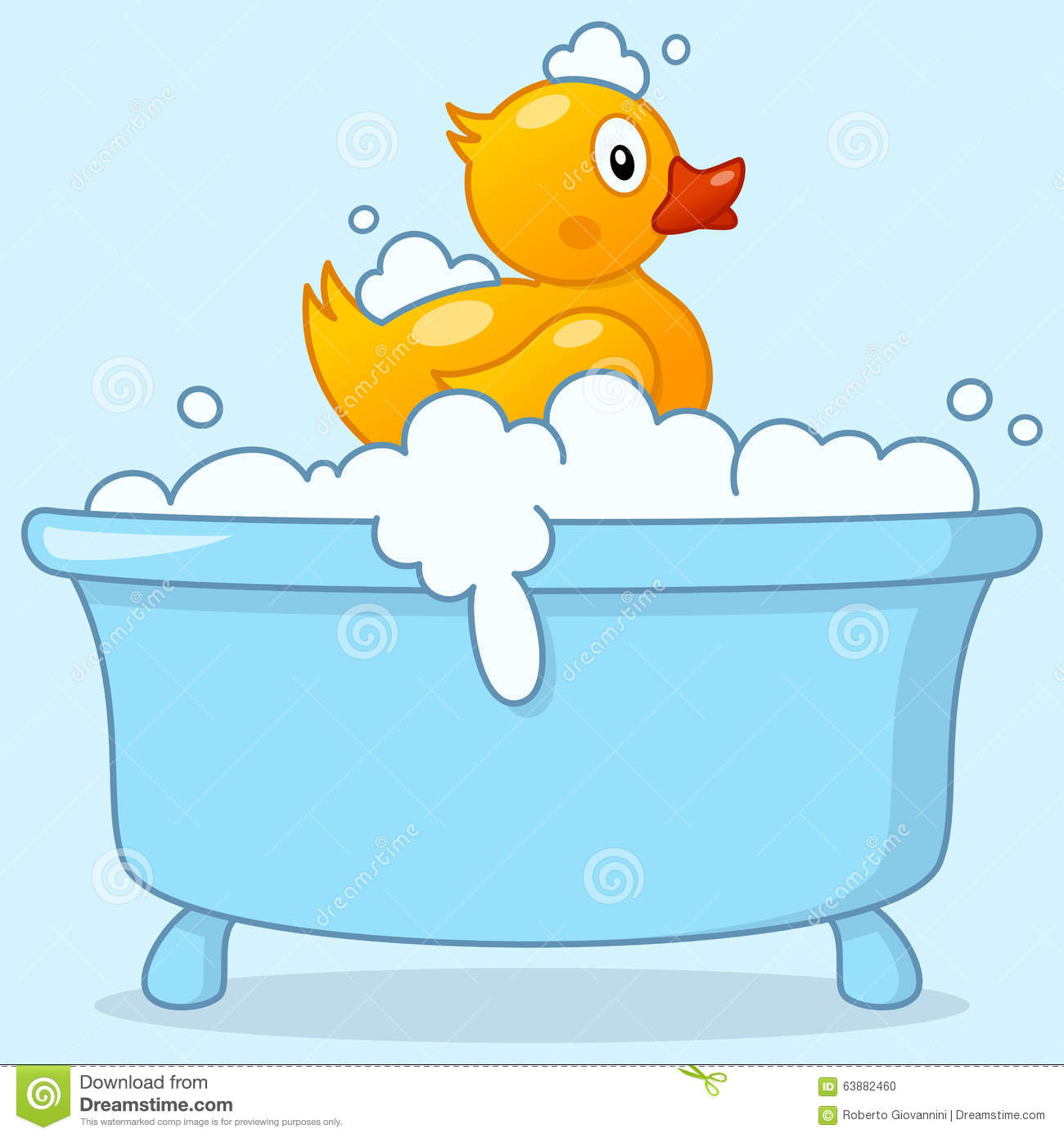 cute rubber duck in a blue bath tub with foam and bubbles. Eps file ...