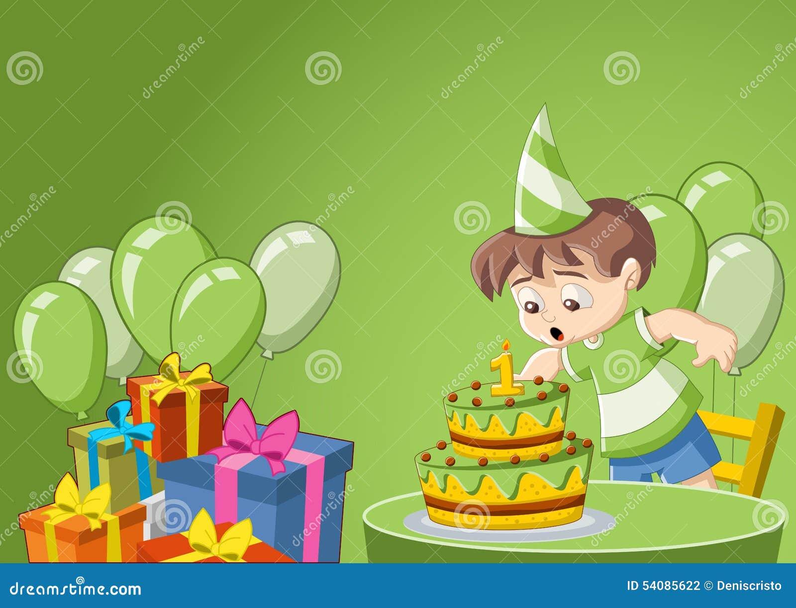 Cartoon Boy At Birthday Party Stock Vector - Illustration of