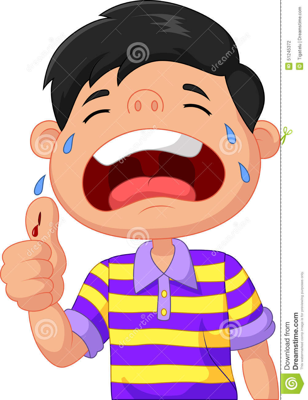 Cartoon Boy Crying Because Of A Cut On His Thumb Stock Vector ...
