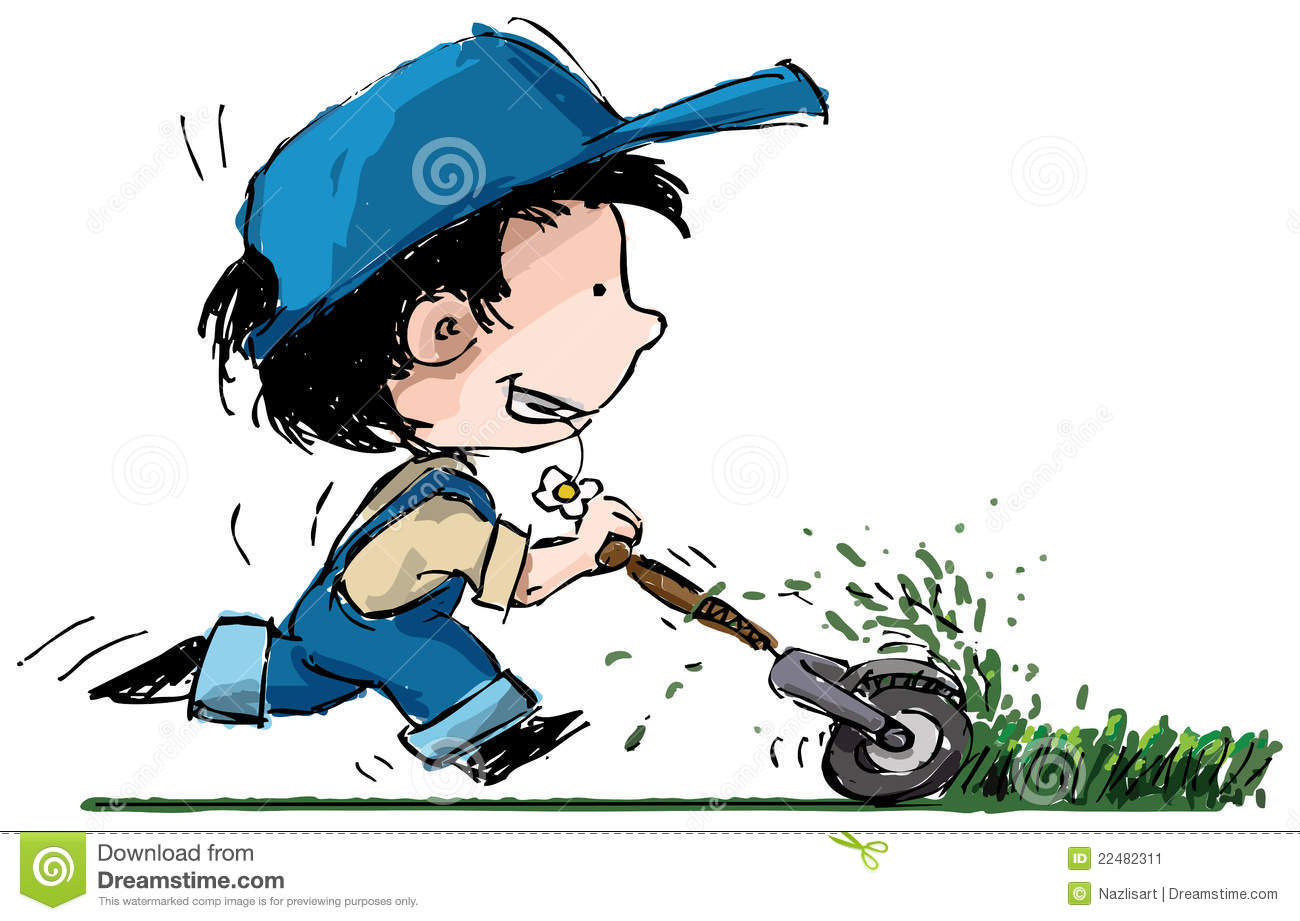 Cartoon Boy Cutting Grass Stock Image - Image: 22482311