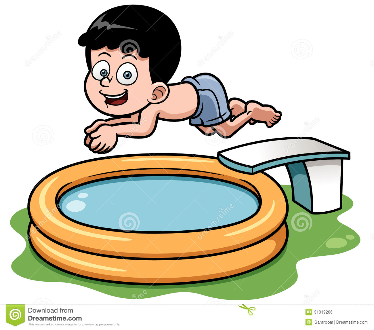 Cartoon Boy Diving In Pool Stock Vector Image Of Life 31019266