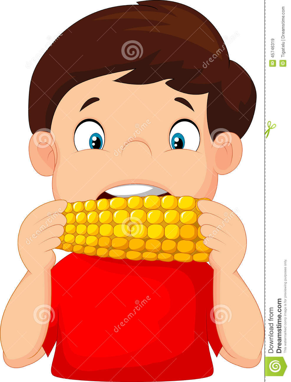 Cartoon Boy Eating Corn Stock Vector Image 45746319