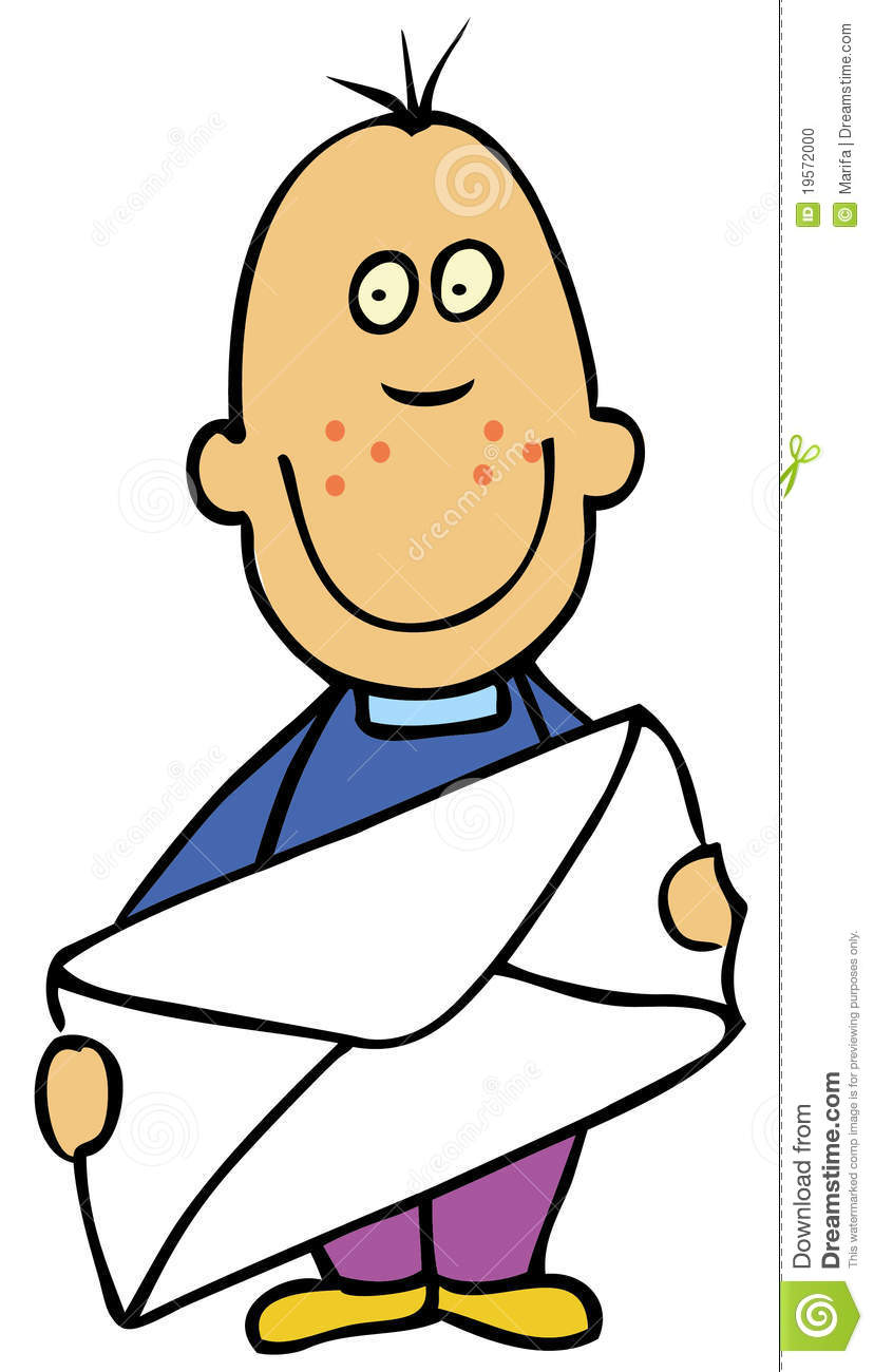 Cartoon boy with envelope stock vector. Illustration of ...