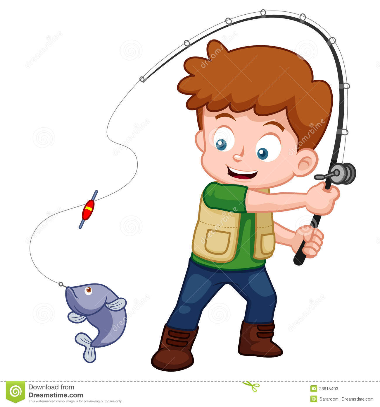 Cartoon Boy Fishing St...