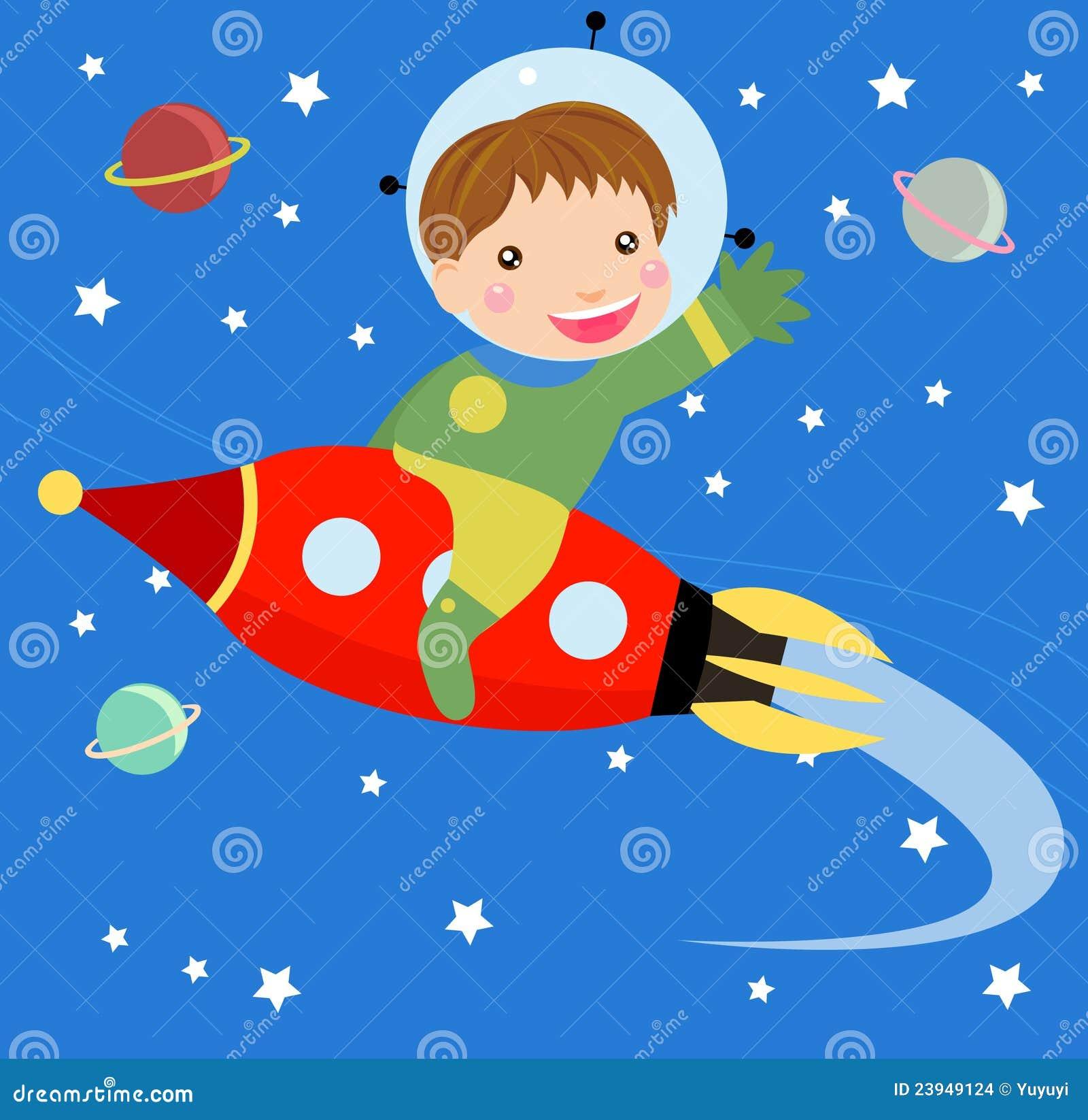 Cartoon boy fly riding red fast rocket.