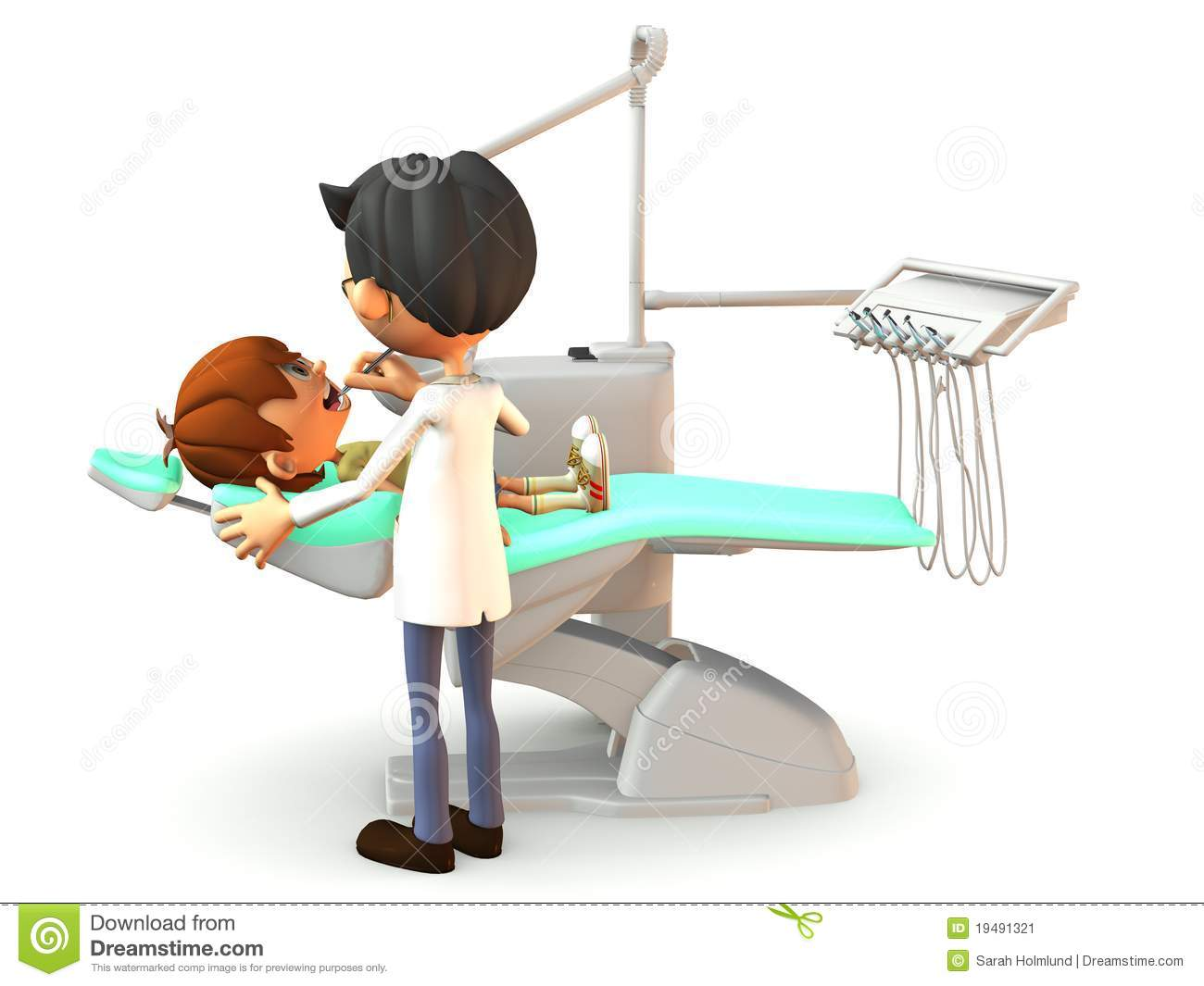 Cartoon Boy Getting A Dental Exam. Stock Image - Image: 19491321