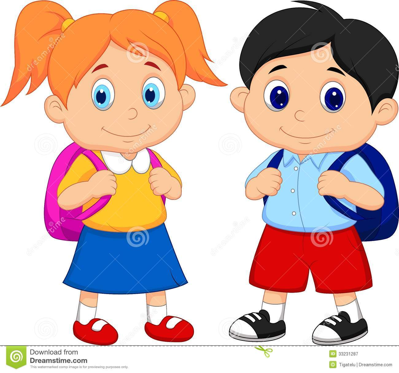 cartoon boy and girl with backpacks stock vector illustration of