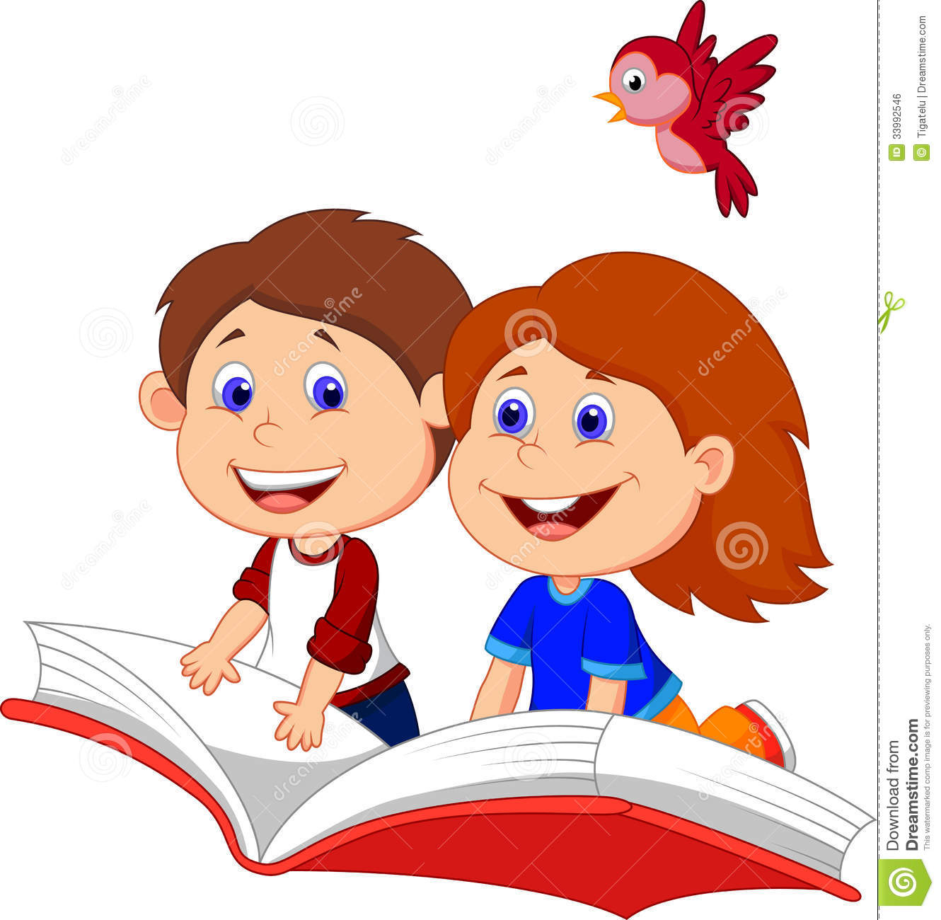 Cartoon Boy And Girl Flying On A Book Stock Vector Illustration