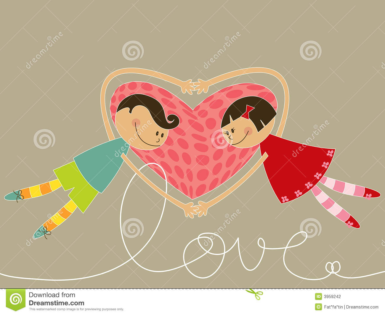 Cartoon Boy And Girl In Love Stock Vector Illustration Of Color