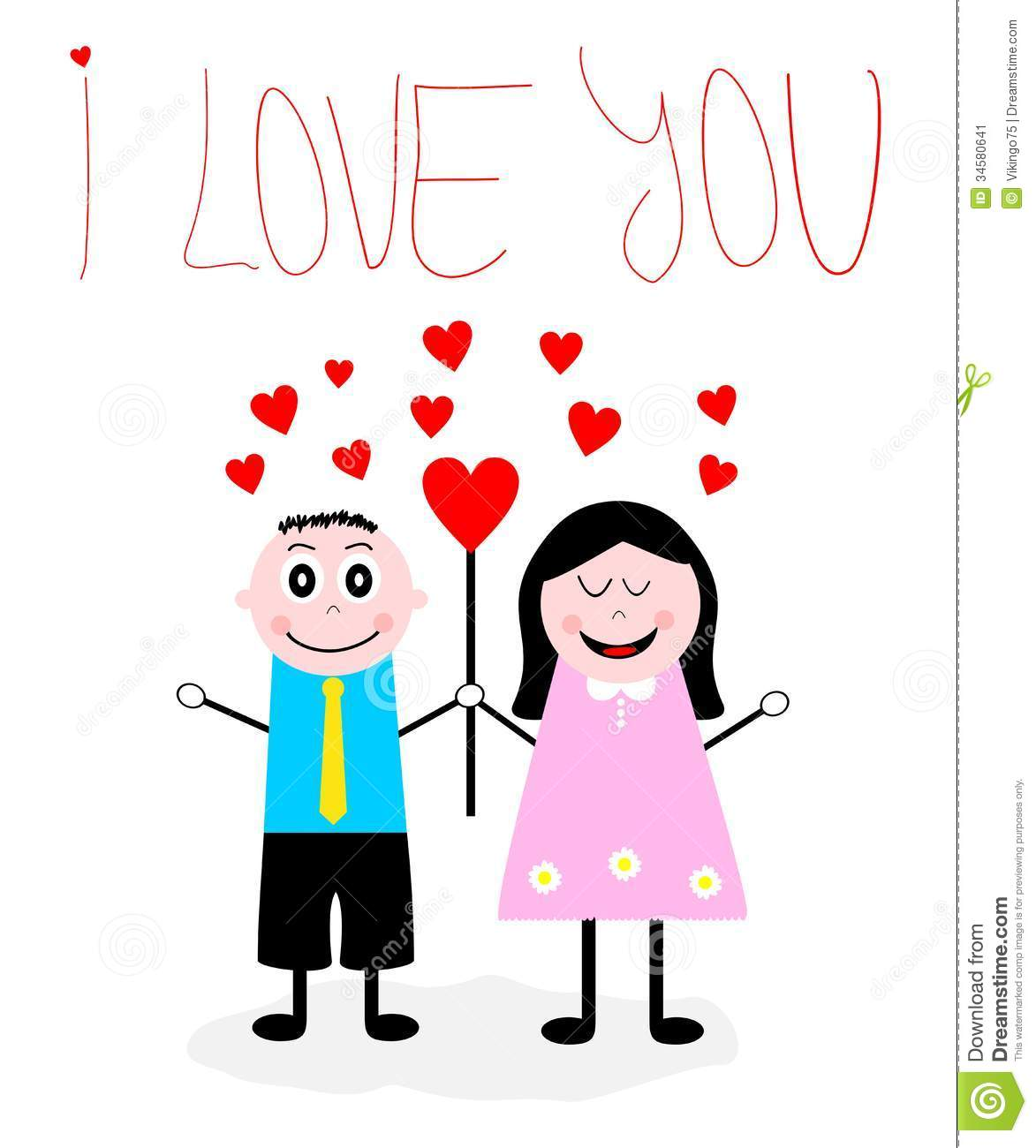Cartoon Boy An Girl In Love Stock Vector Illustration Of