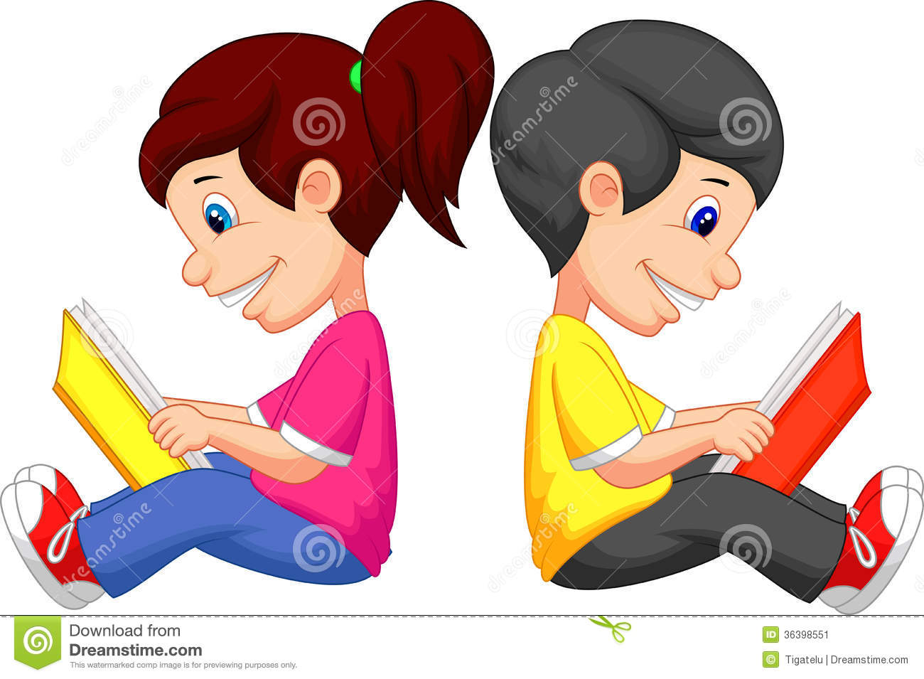 Cartoon Boy And Girl Reading Book Stock Image - Image: 36398551