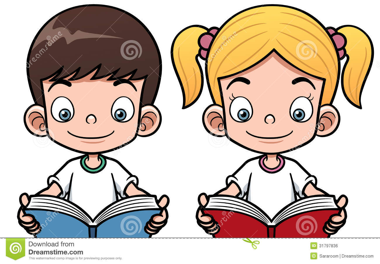 cartoon boy and girl reading a book stock vector - illustration of