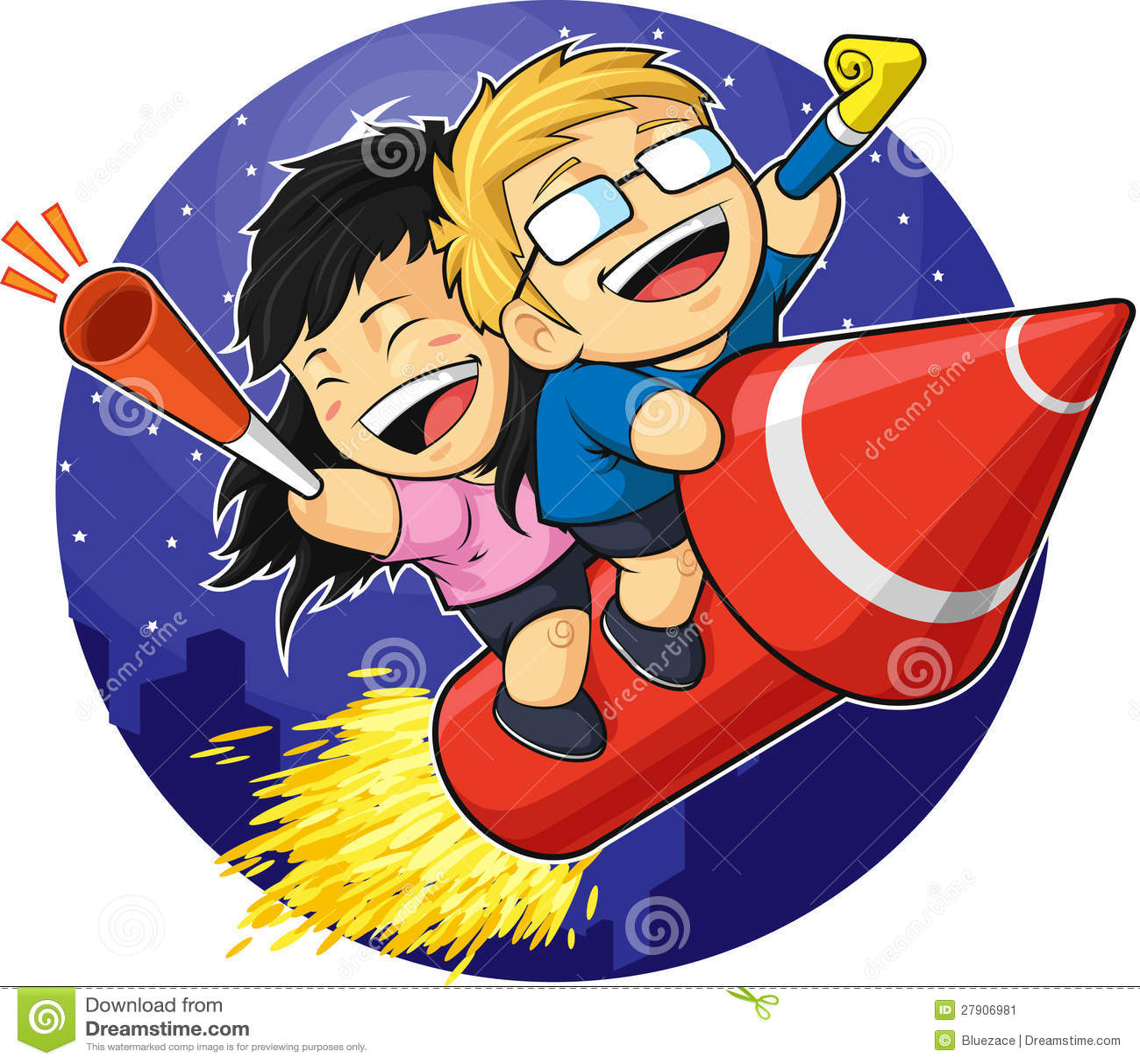 cartoon of boy amp girl riding new year firework stock image