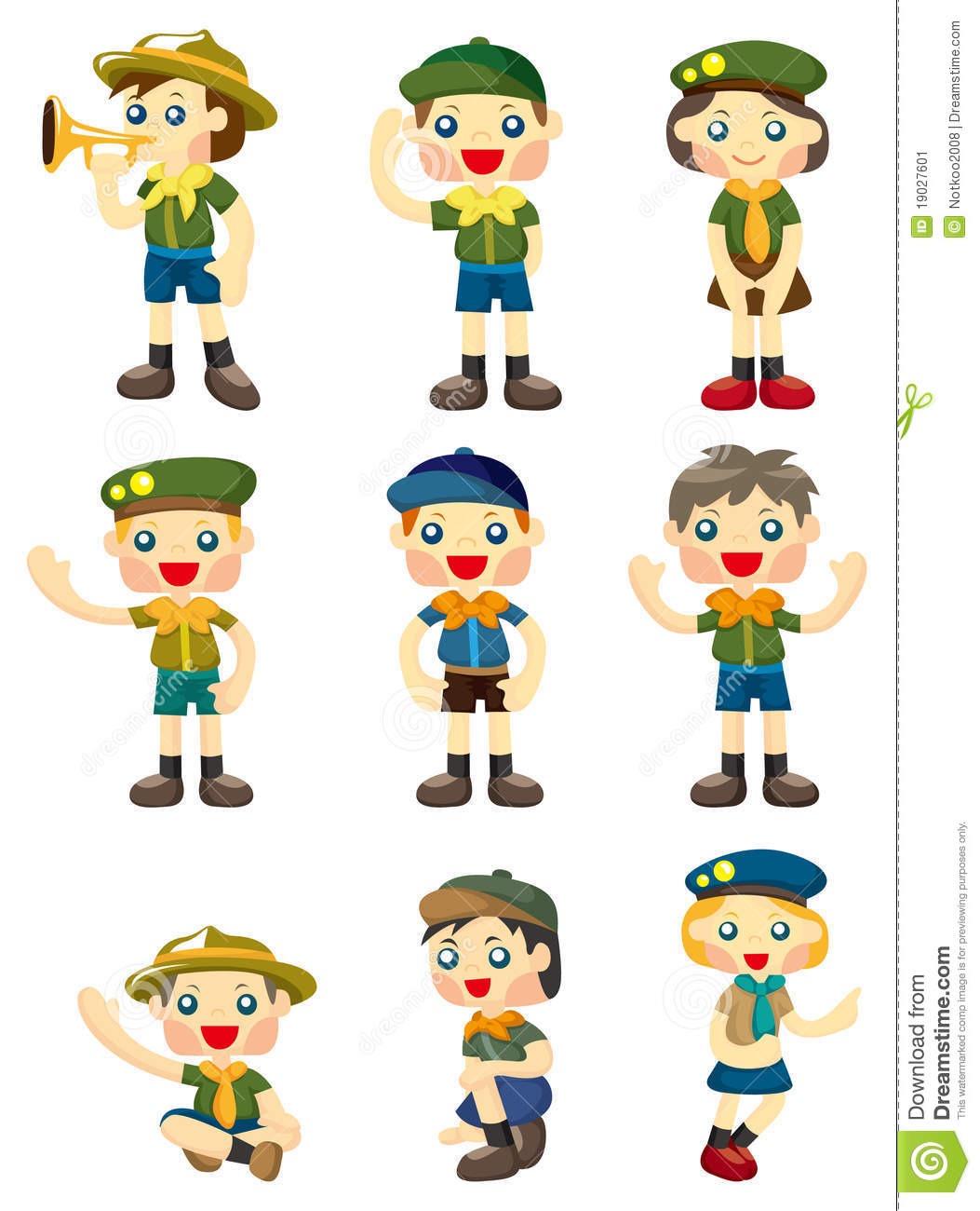 cartoon boy girl scout icon stock image   image 19027601