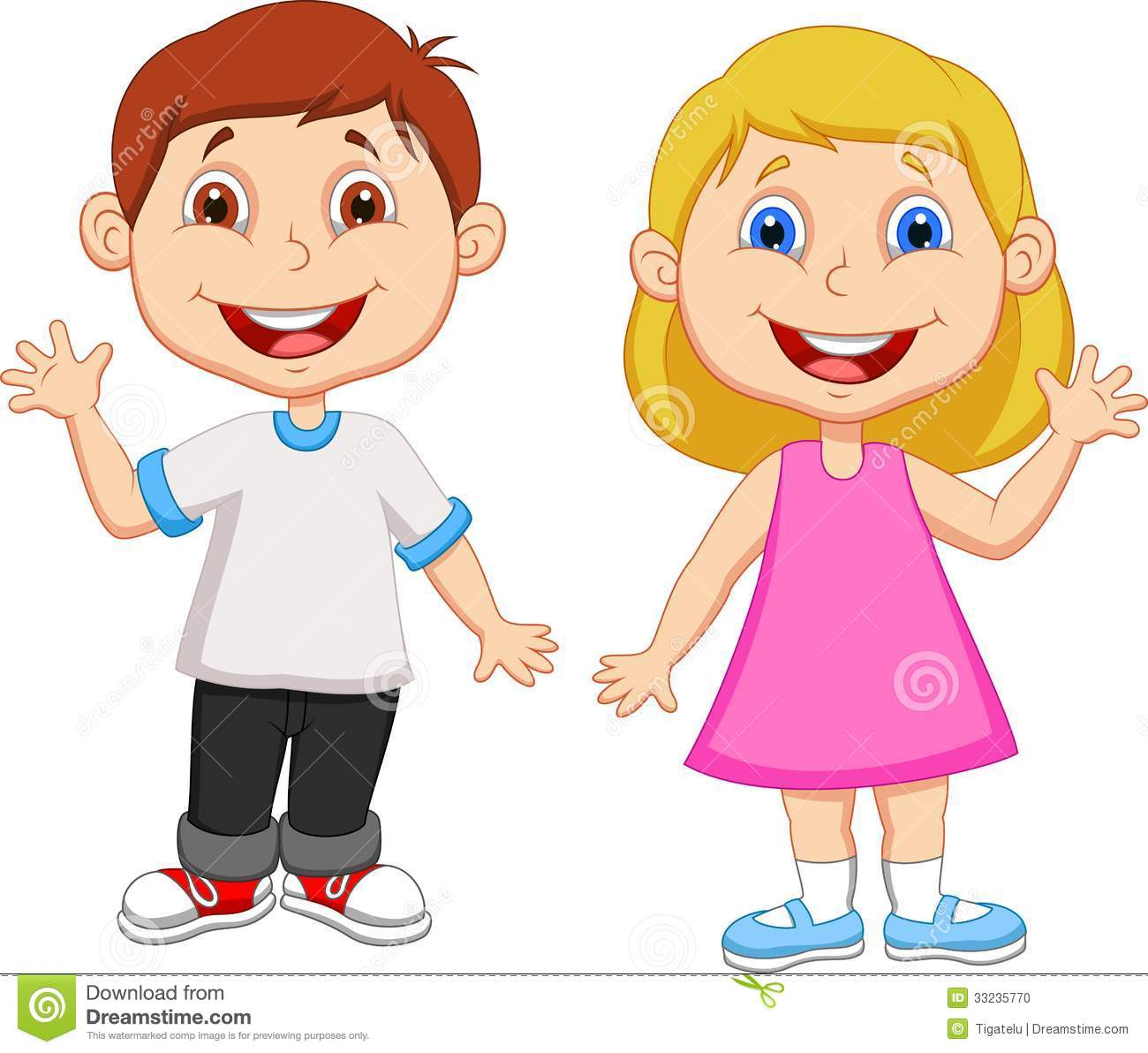 cartoon boy and girl waving hand stock vector illustration of